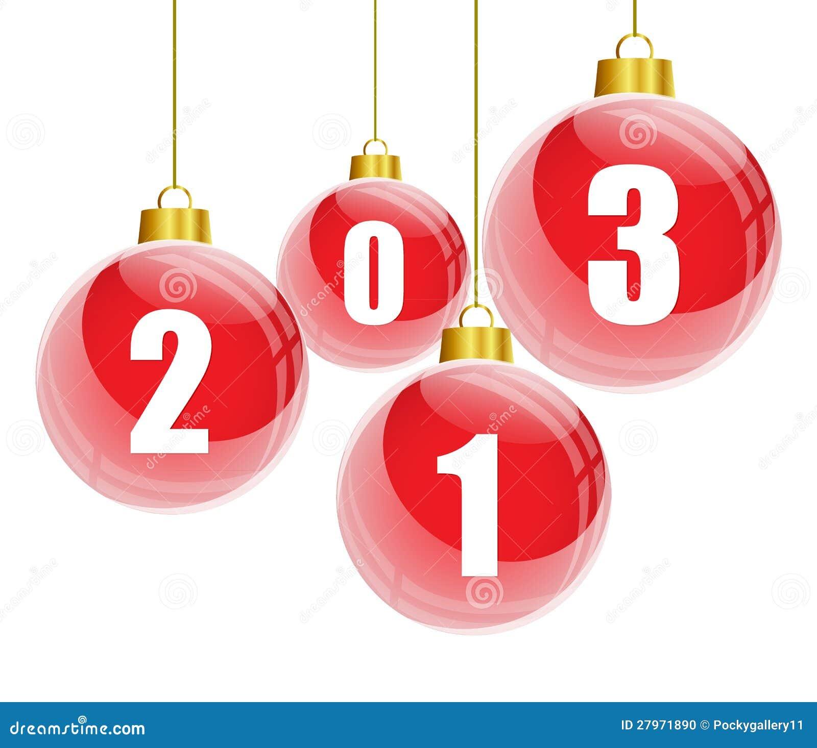 Bolas rojas de la navidad con 2013 n meros foto de archivo - Bolas de navidad rojas ...