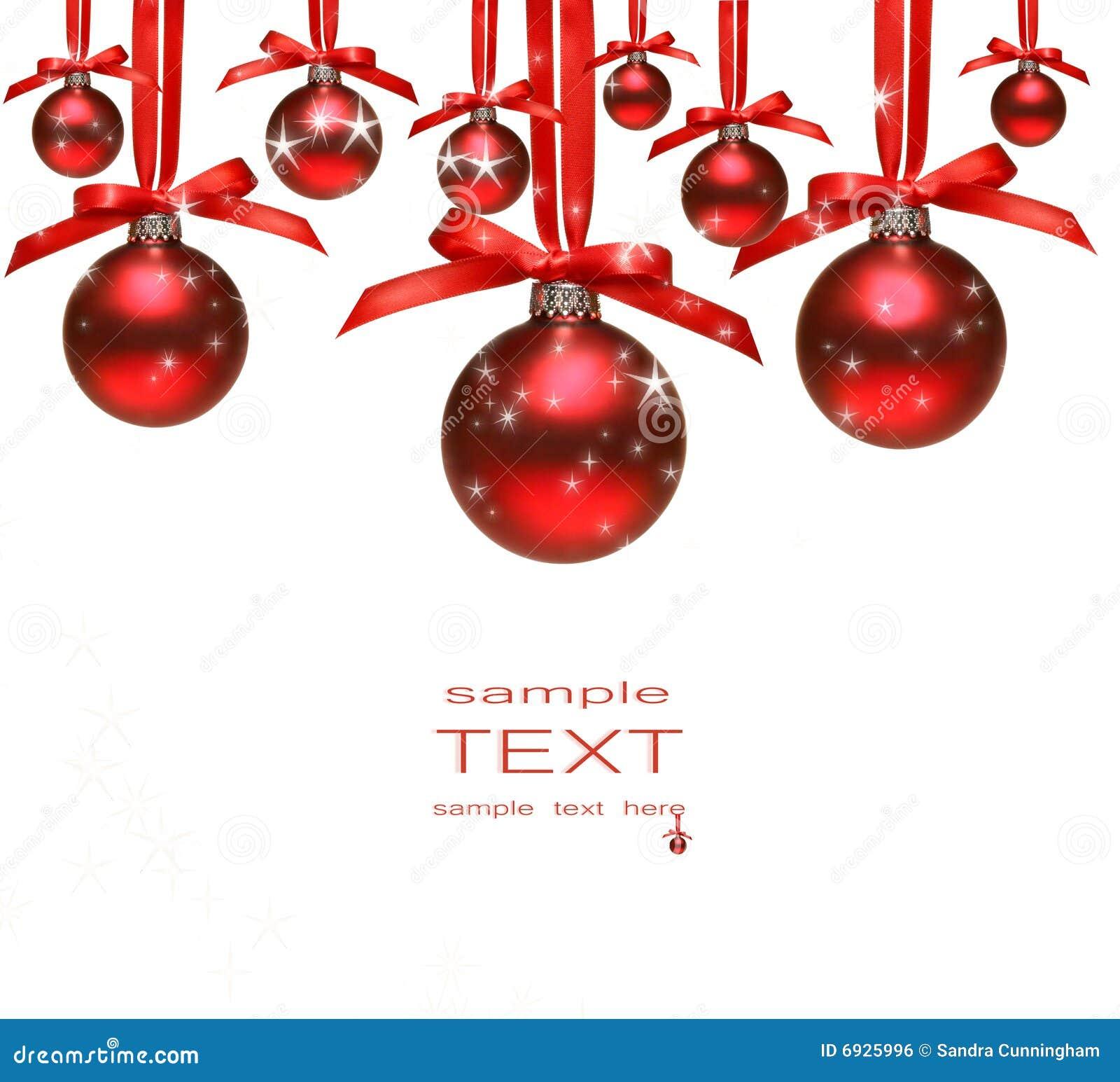 Bolas rojas de la navidad con los arqueamientos en blanco - Bolas de navidad rojas ...
