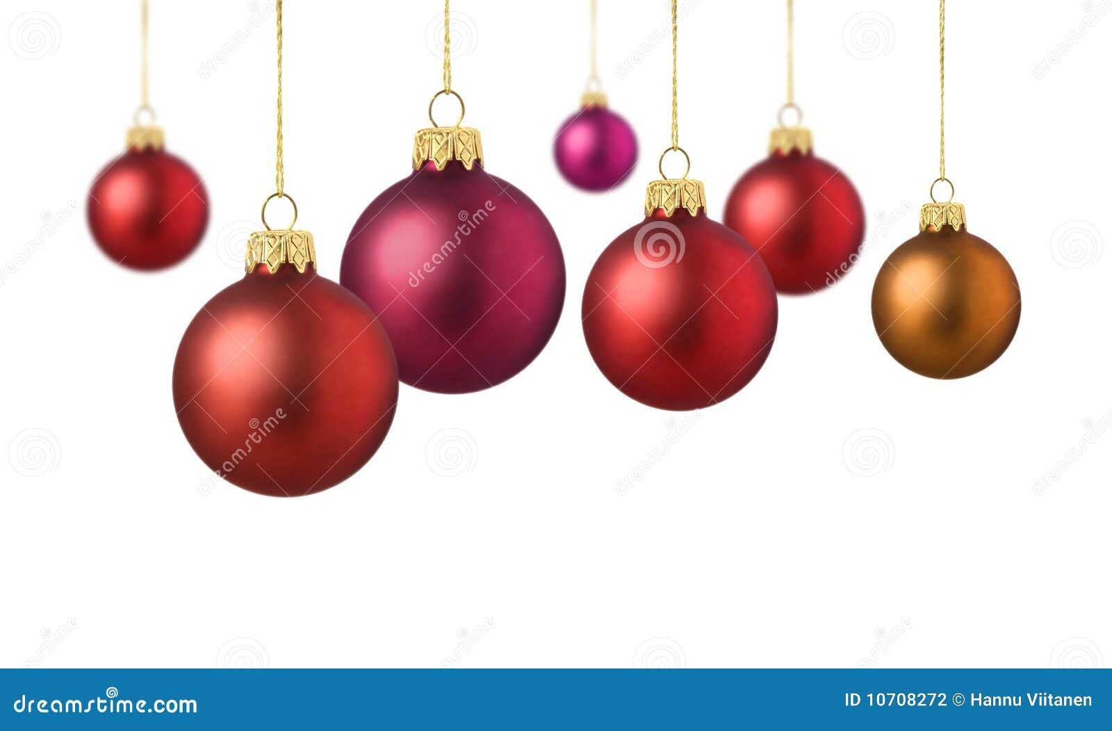 Bolas rojas de la Navidad del satén