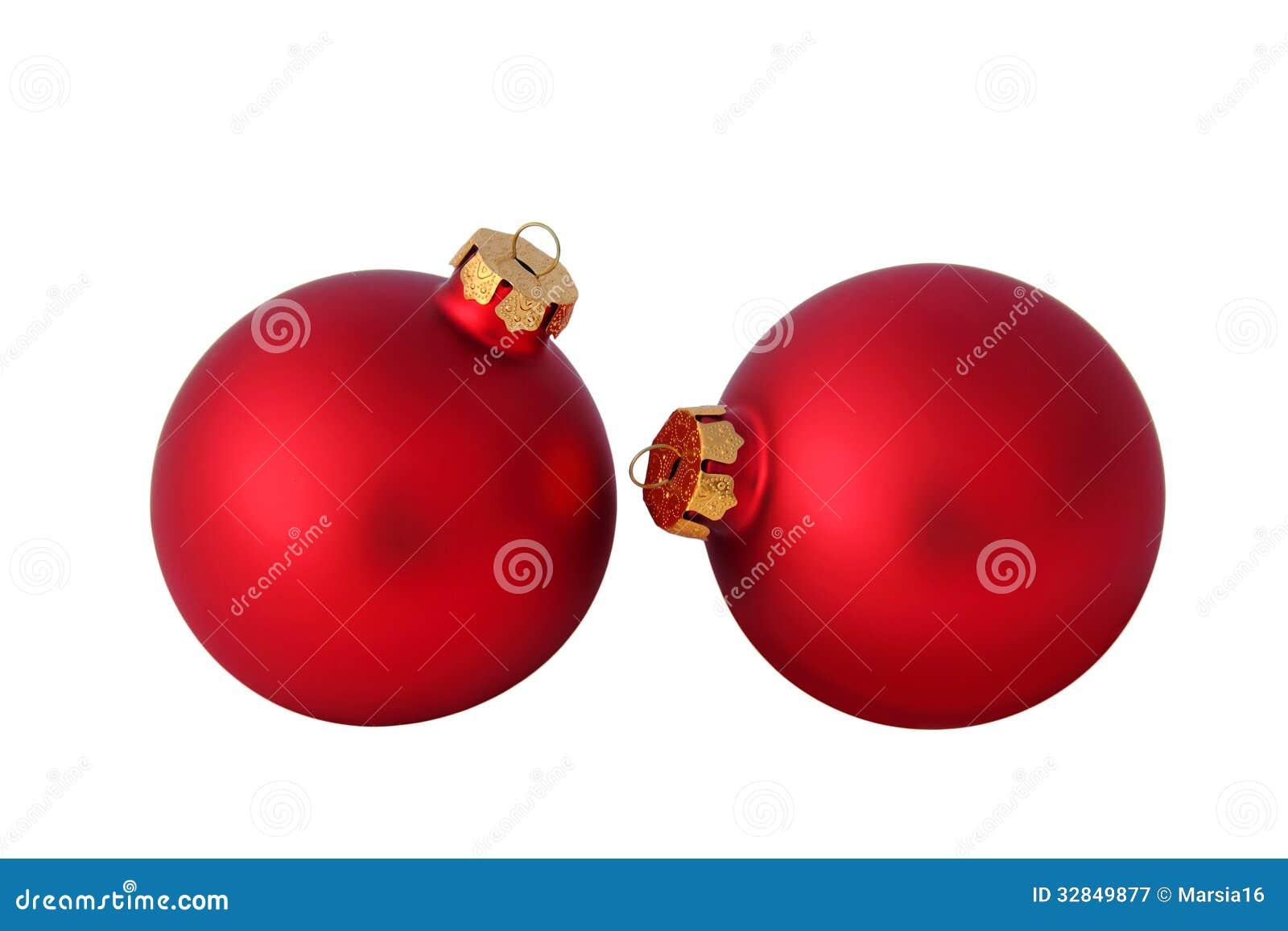 Bolas rojas de la navidad en blanco - Bolas de navidad rojas ...