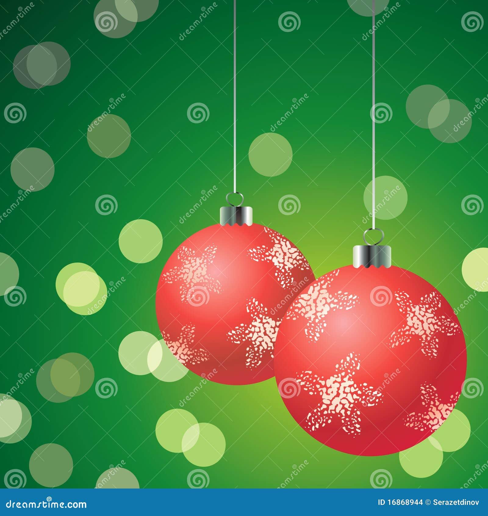 Bolas rojas de la navidad en el fondo verde imagenes de - Bolas de navidad rojas ...