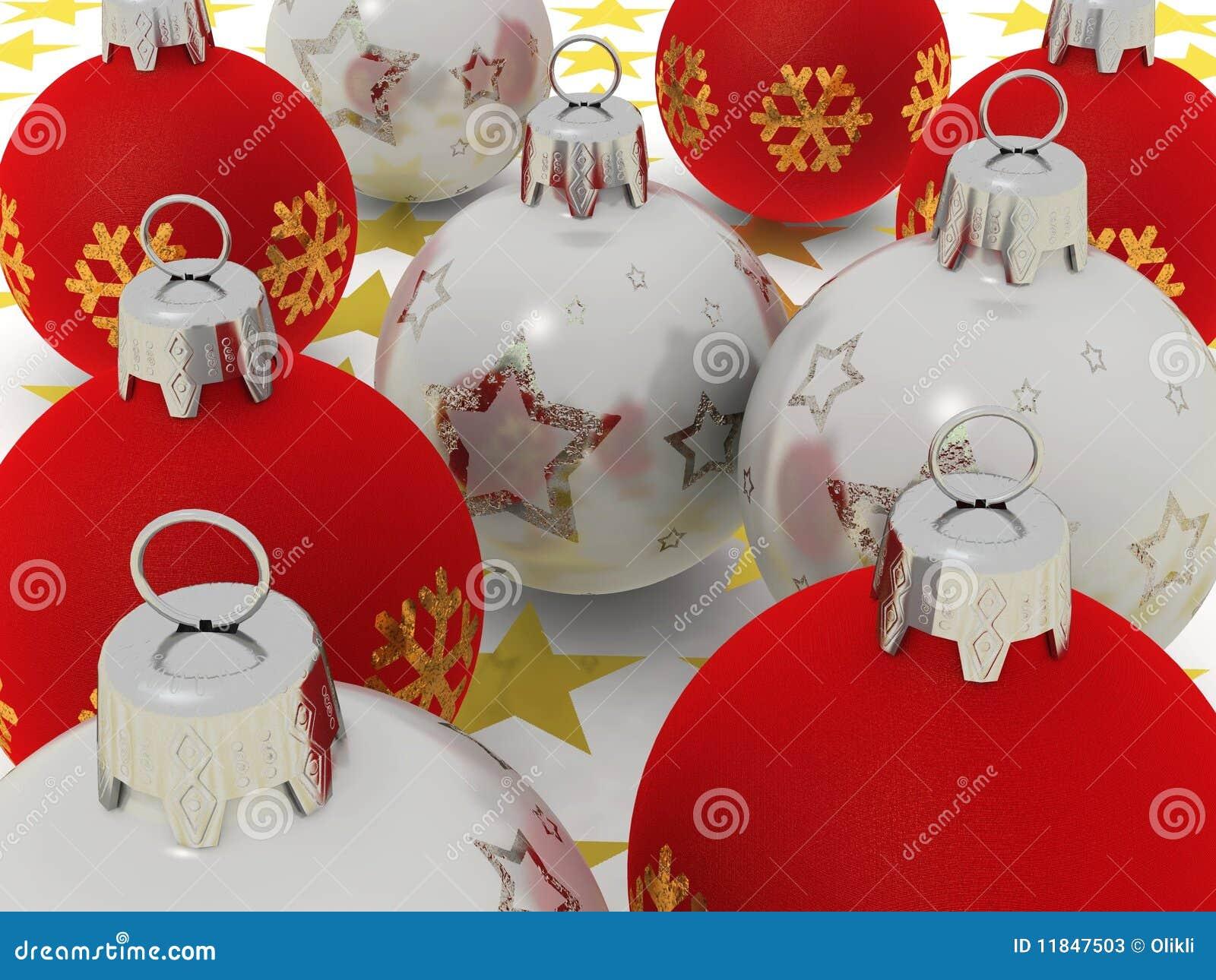 Bolas rojas y de plata de la navidad fotos de archivo - Bolas de navidad rojas ...