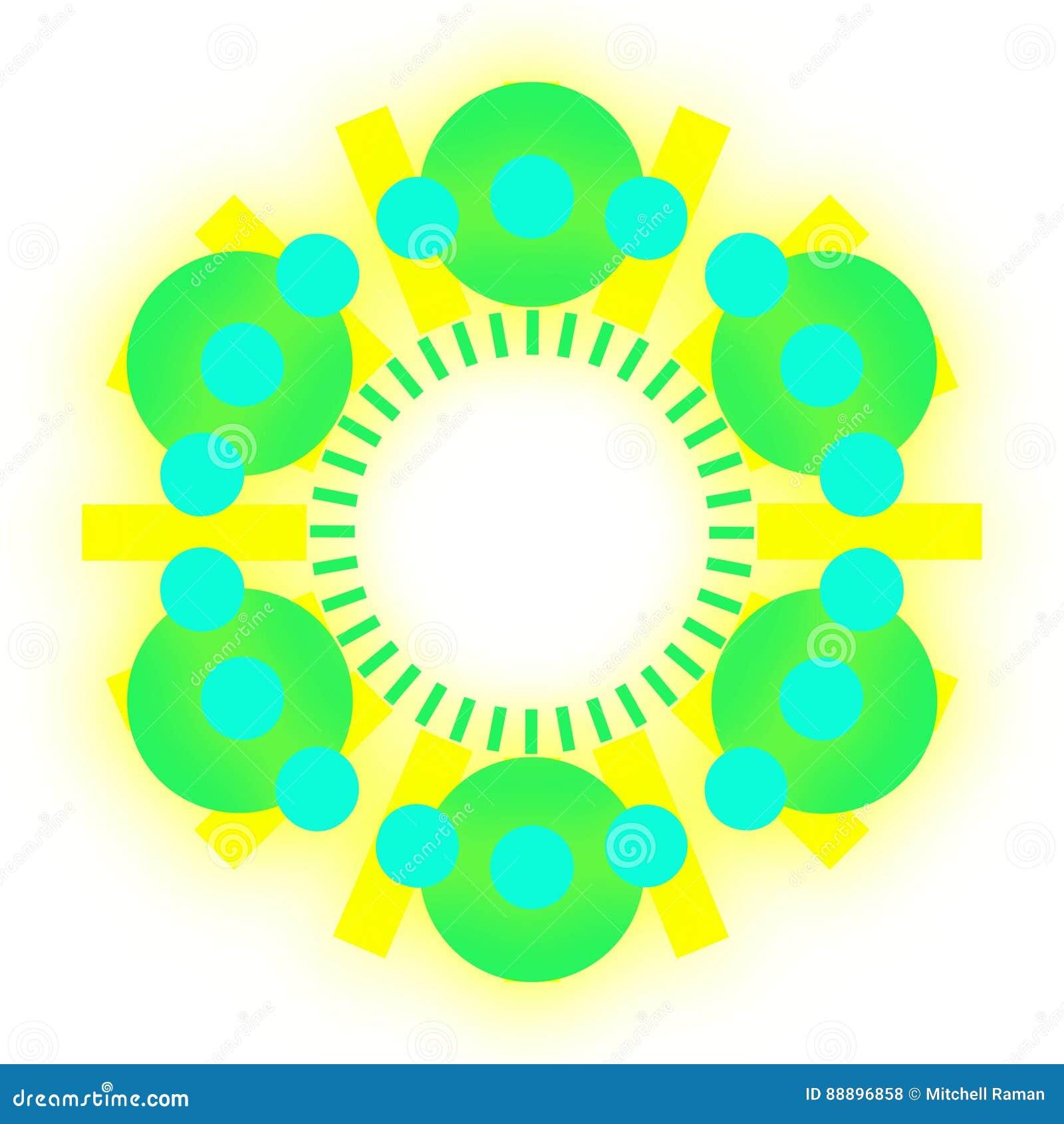 Bolas verdes e azuis em um vetor do círculo