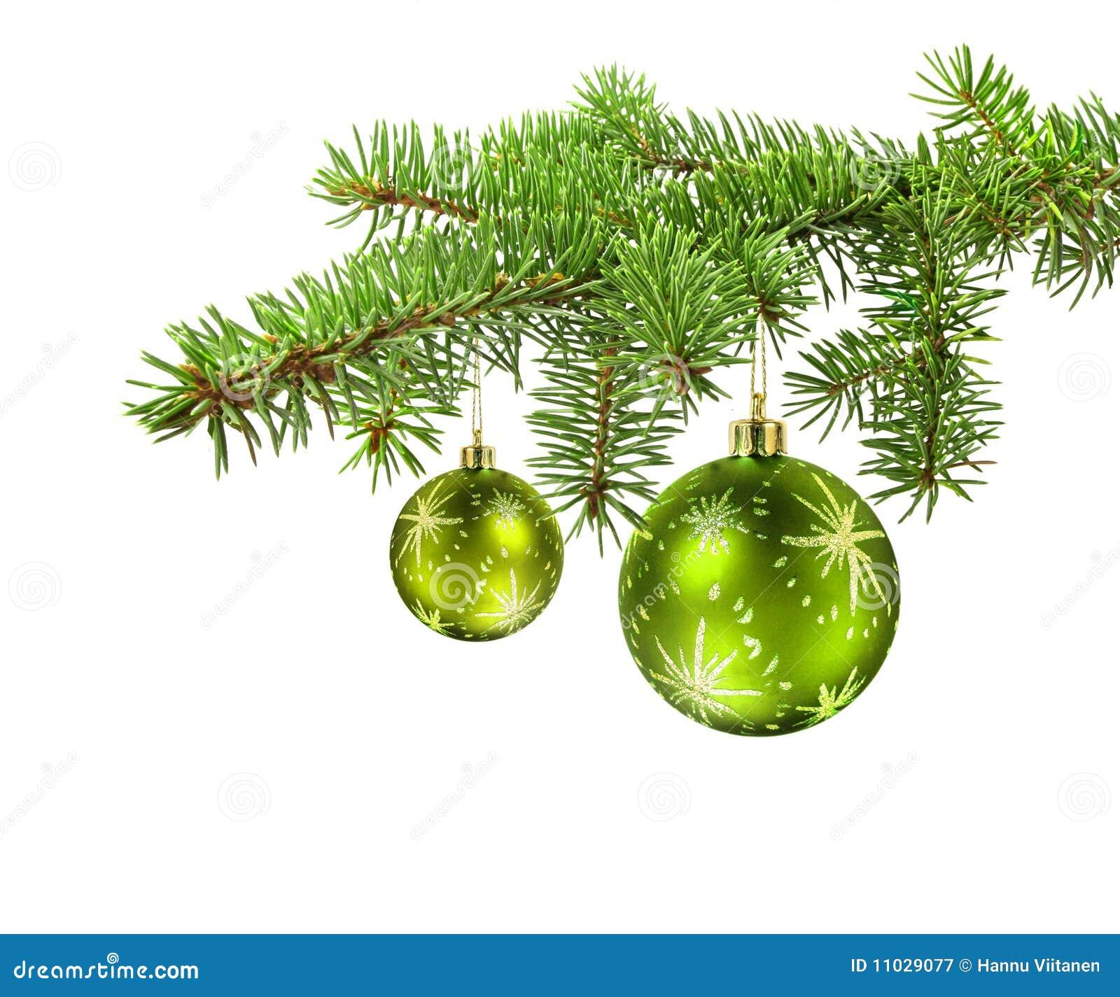 Bolas verdes en la ramificaci n del rbol de navidad - Arbol de navidad de bolas ...