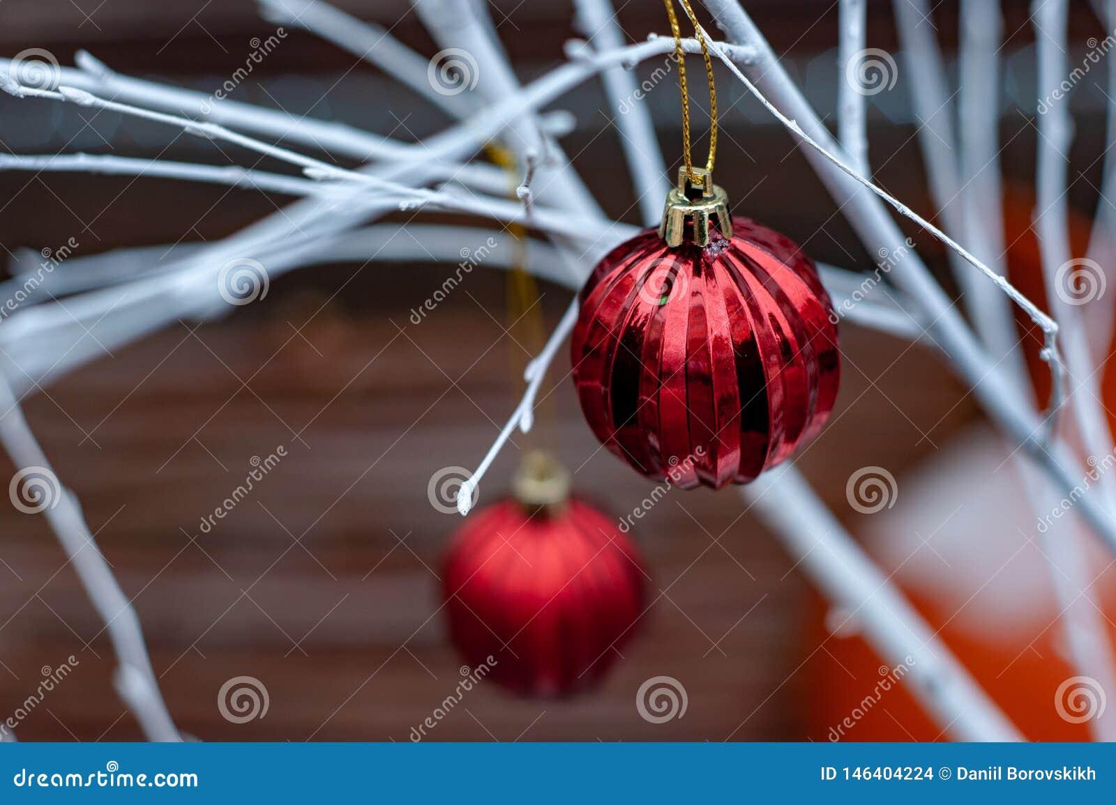 Bolas vermelhas do Natal nos ramos brancos
