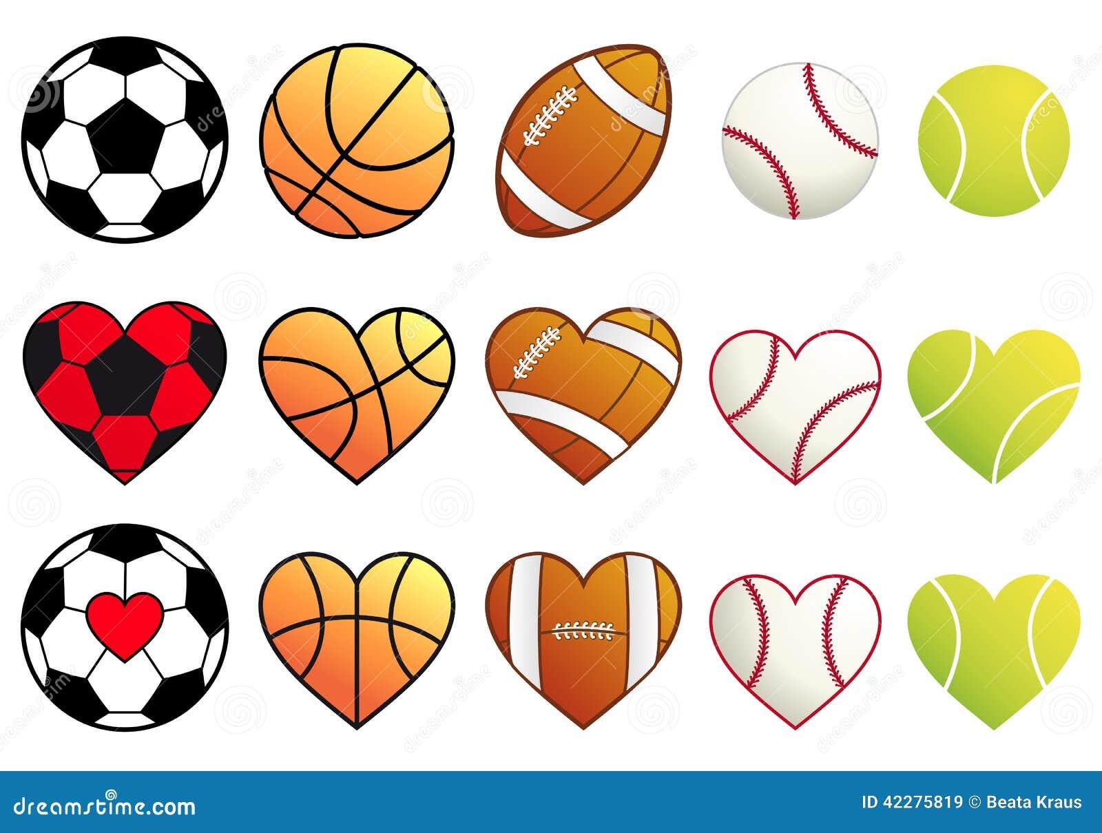 Vector Deportes Bolas Patrón De Fondo: Bolas Y Corazones, Sistema Del Deporte Del Vector