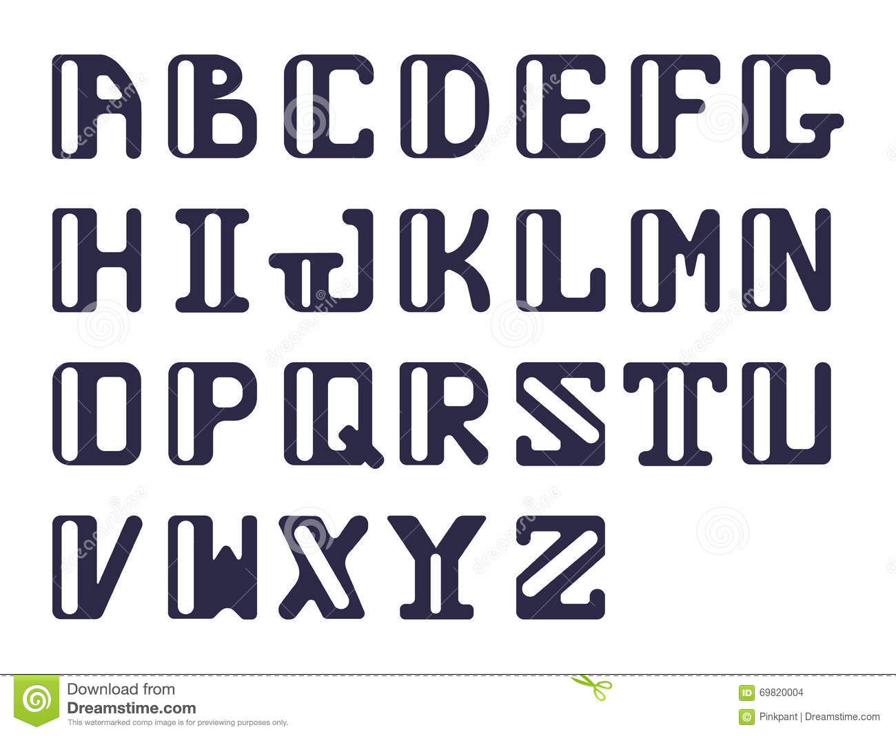 bold alphabet of capital latin letters sans serif vector set of