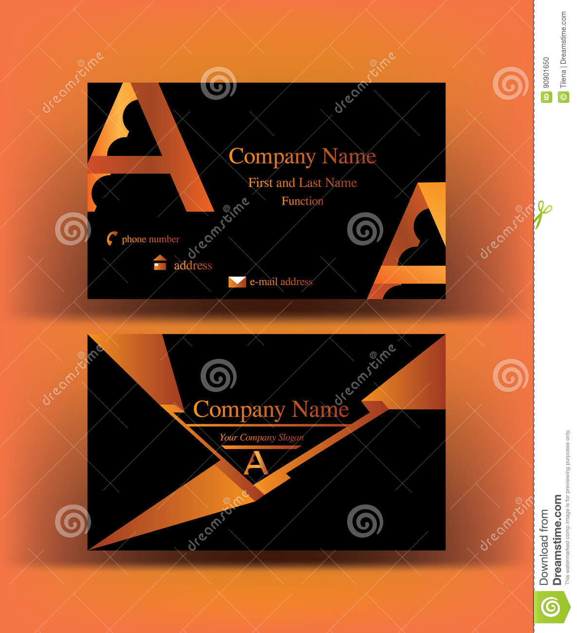 Black Business Card With Abstract A Letter Logo Design On Orange Background