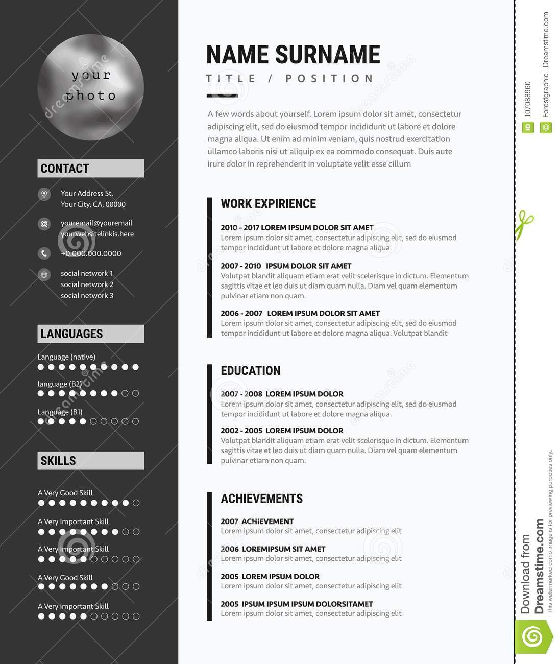bold cv    resume - minimalist modern sleek design - black stock vector