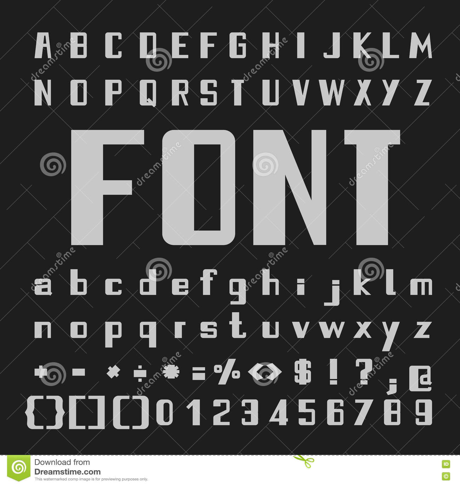 Bold stylish alphabets catalog photo