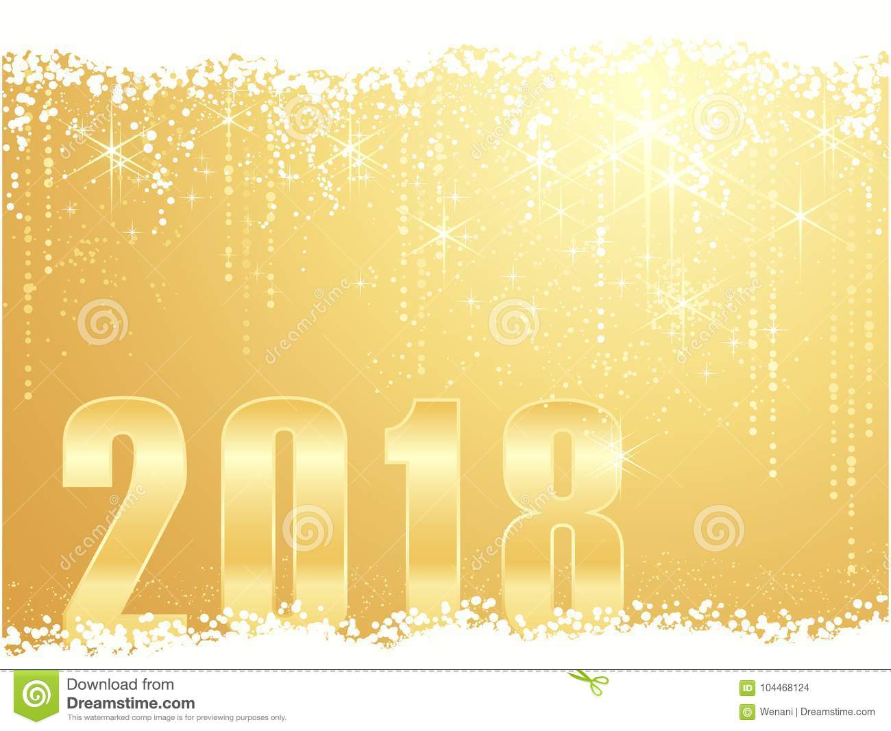 golden happy new year 2018 background