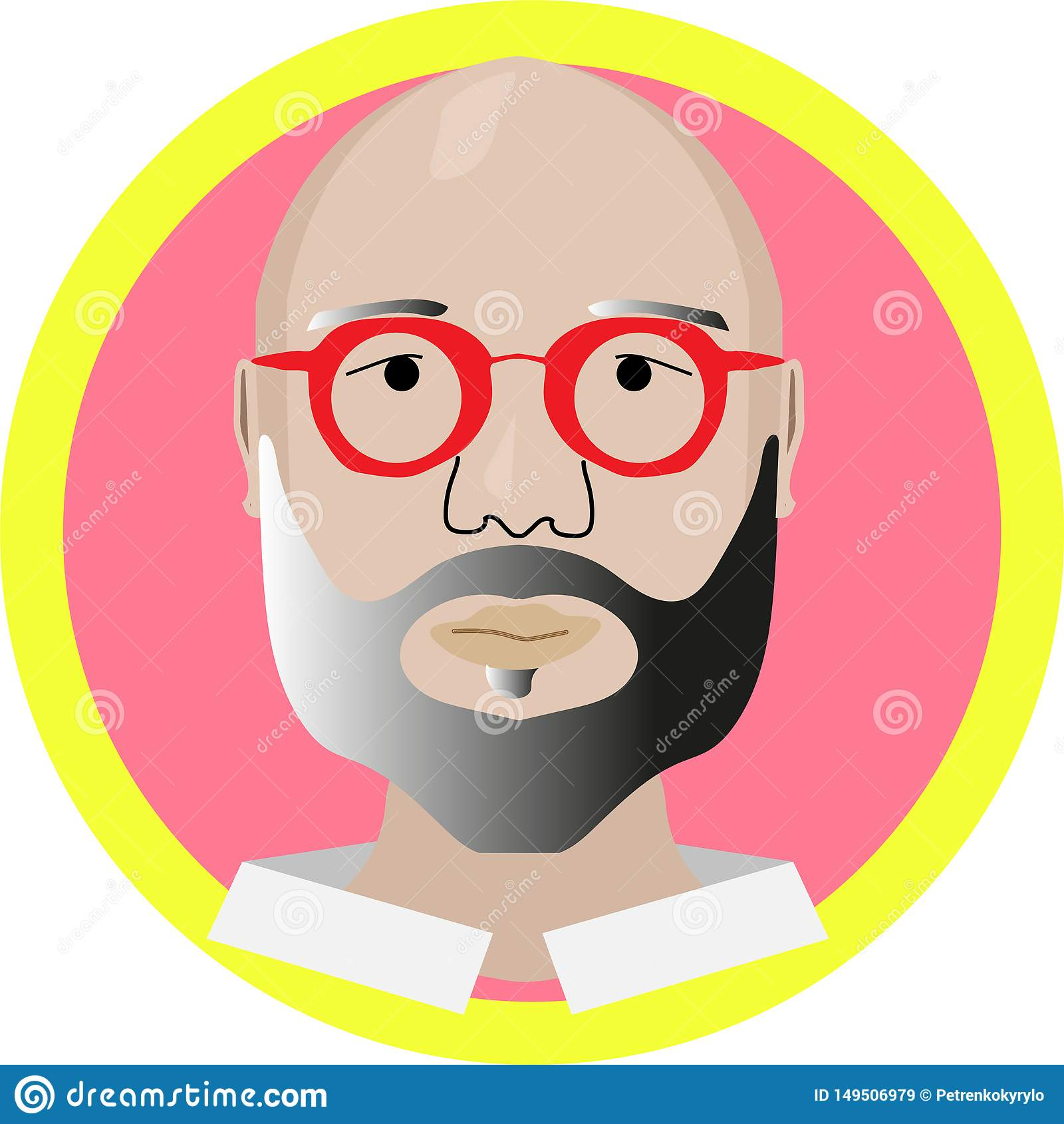 Bold guy in red glasses modern design