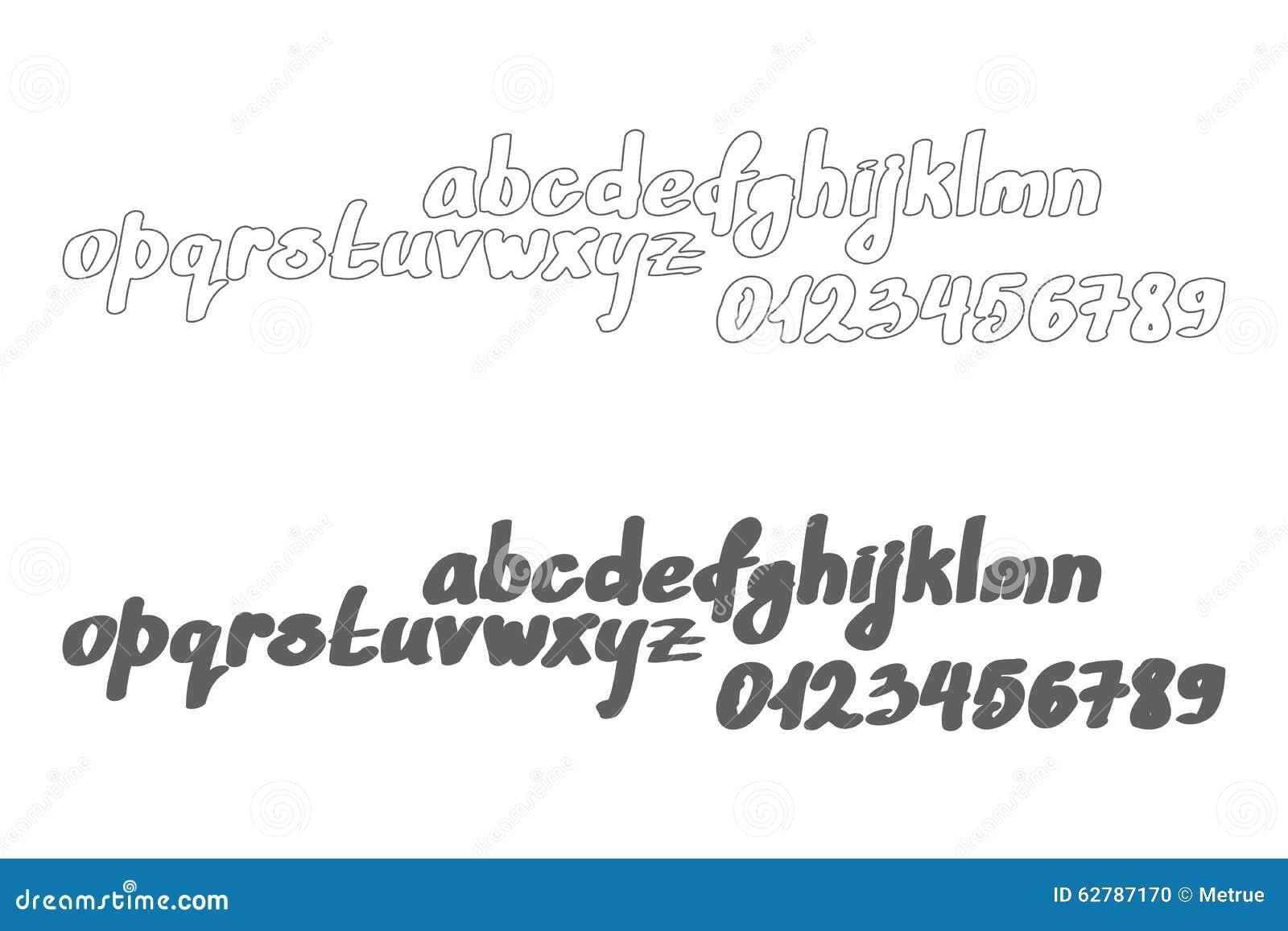 Set Of Cursive Alphabet Letters On White Background Vector Font Type Handwriting Design