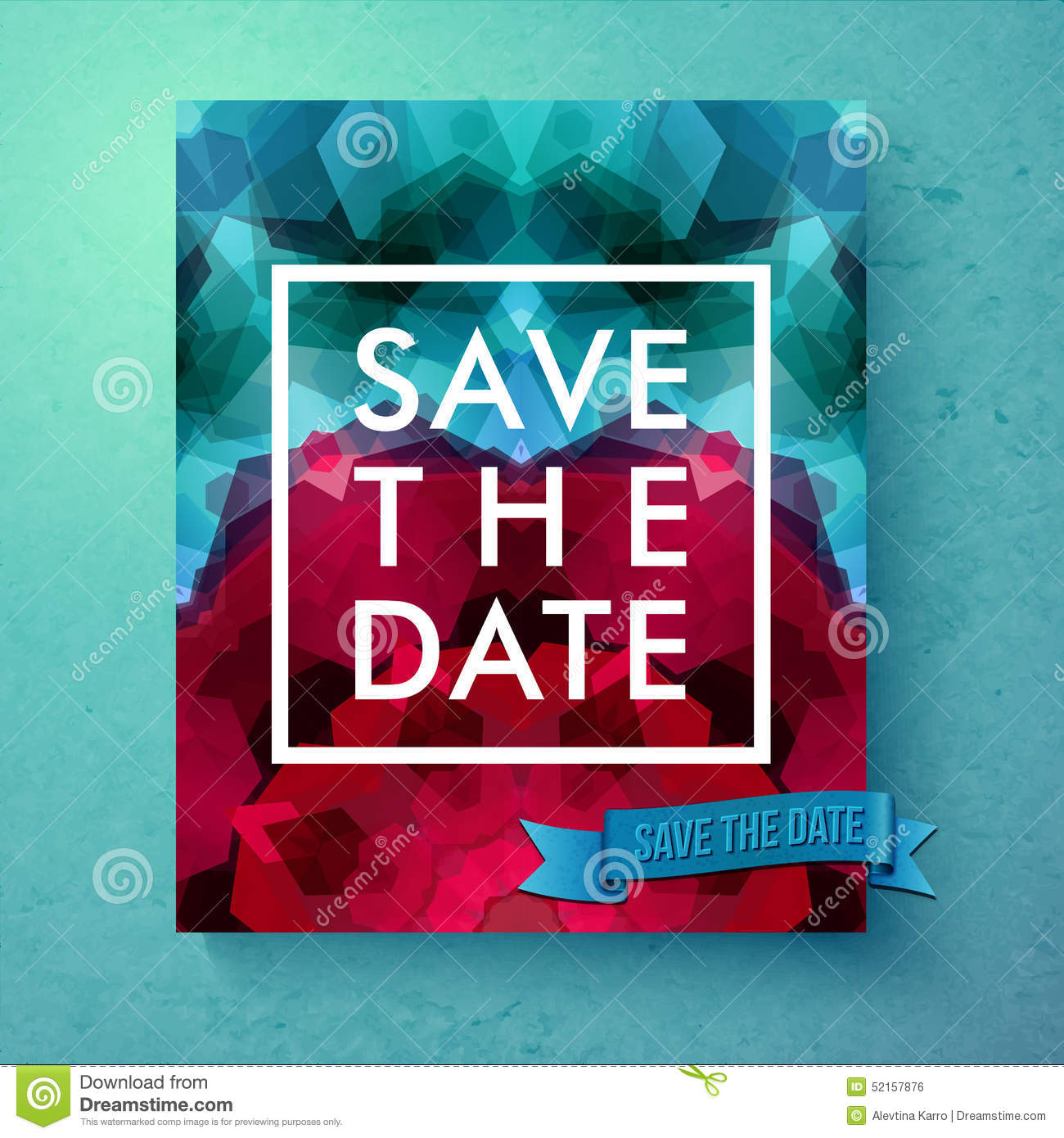 Bold Simple Save The Date Wedding Template Stock Vector