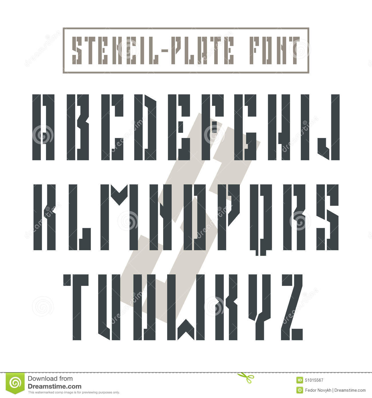 bold stencil plate sans serif font in military style stock vector image 51015567