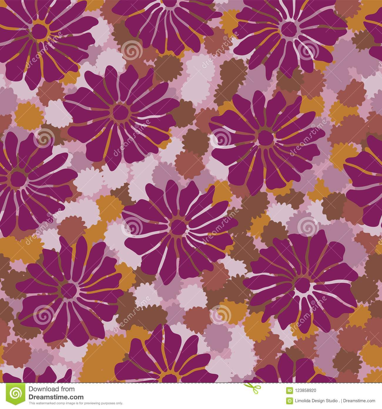 Bold Vintage Floral Purple and Orange 20s Stock Vector ...