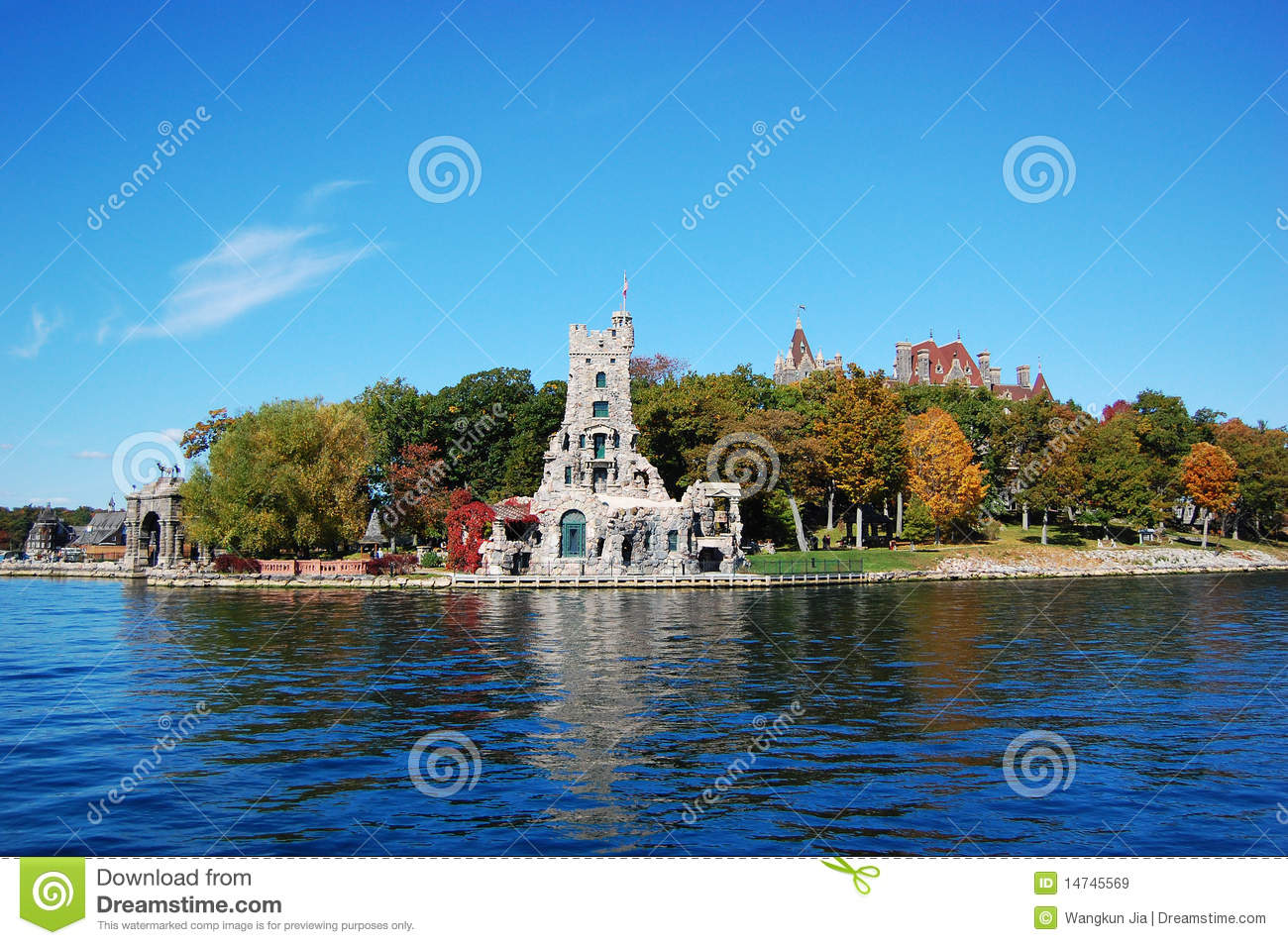Boldt castle and alster tower on heart island thousand islands region