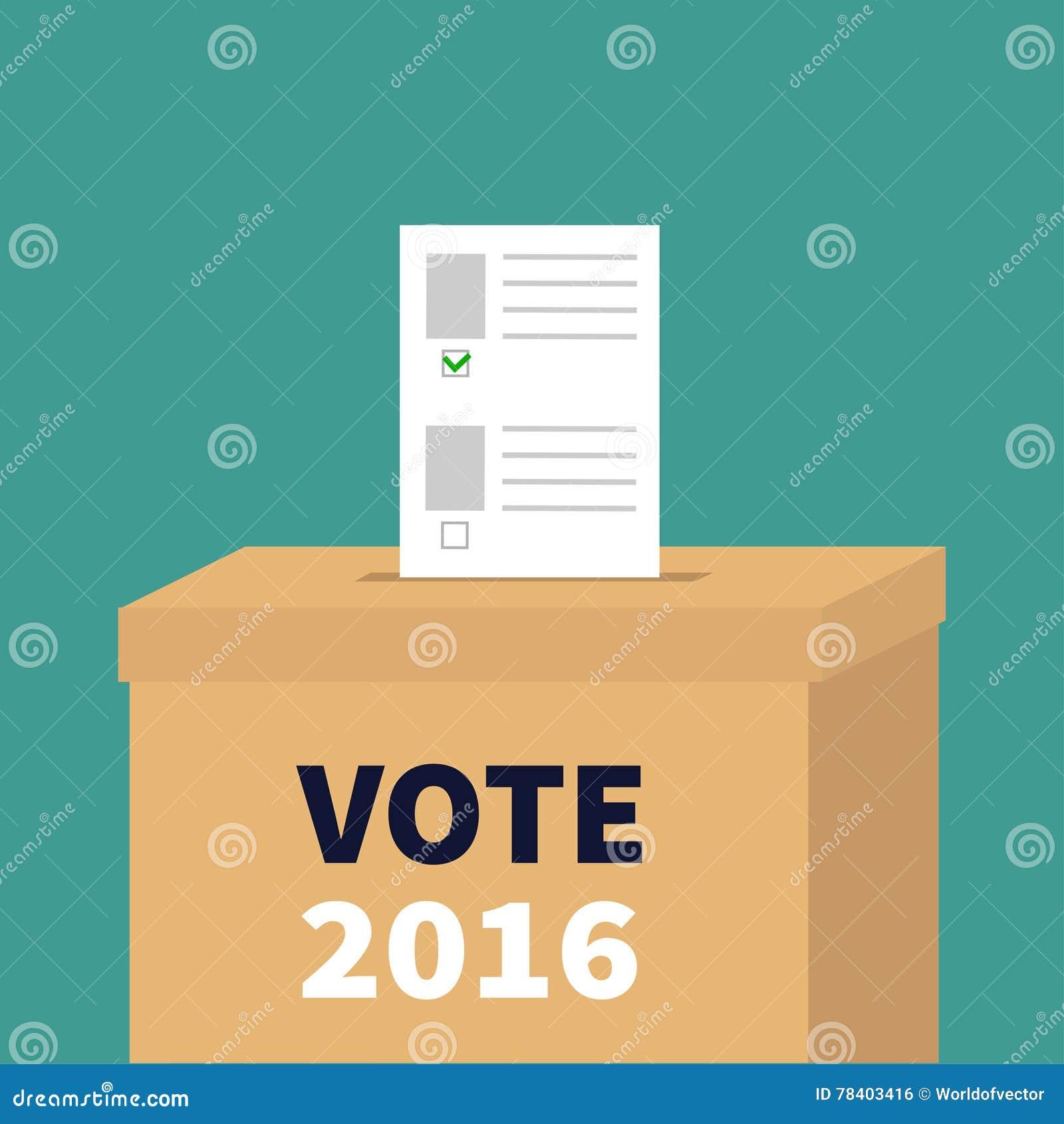 Boletín en blanco de papel de votación de la caja de la votación con concepto verde de la marca Colegio electoral Texto negro bla