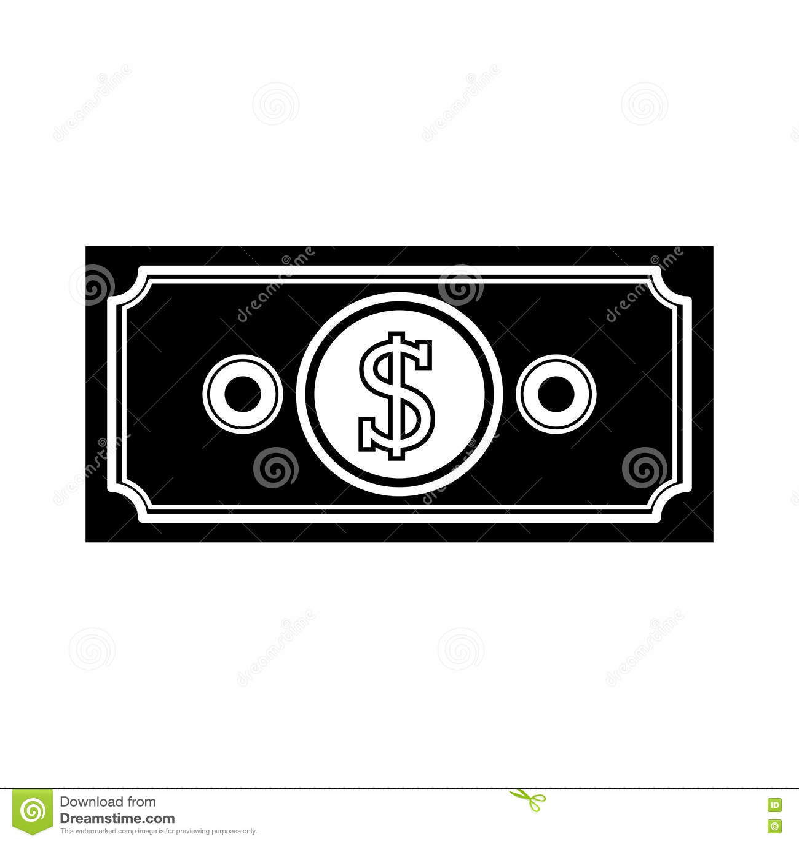 Boleto monocromático con símbolo del dinero