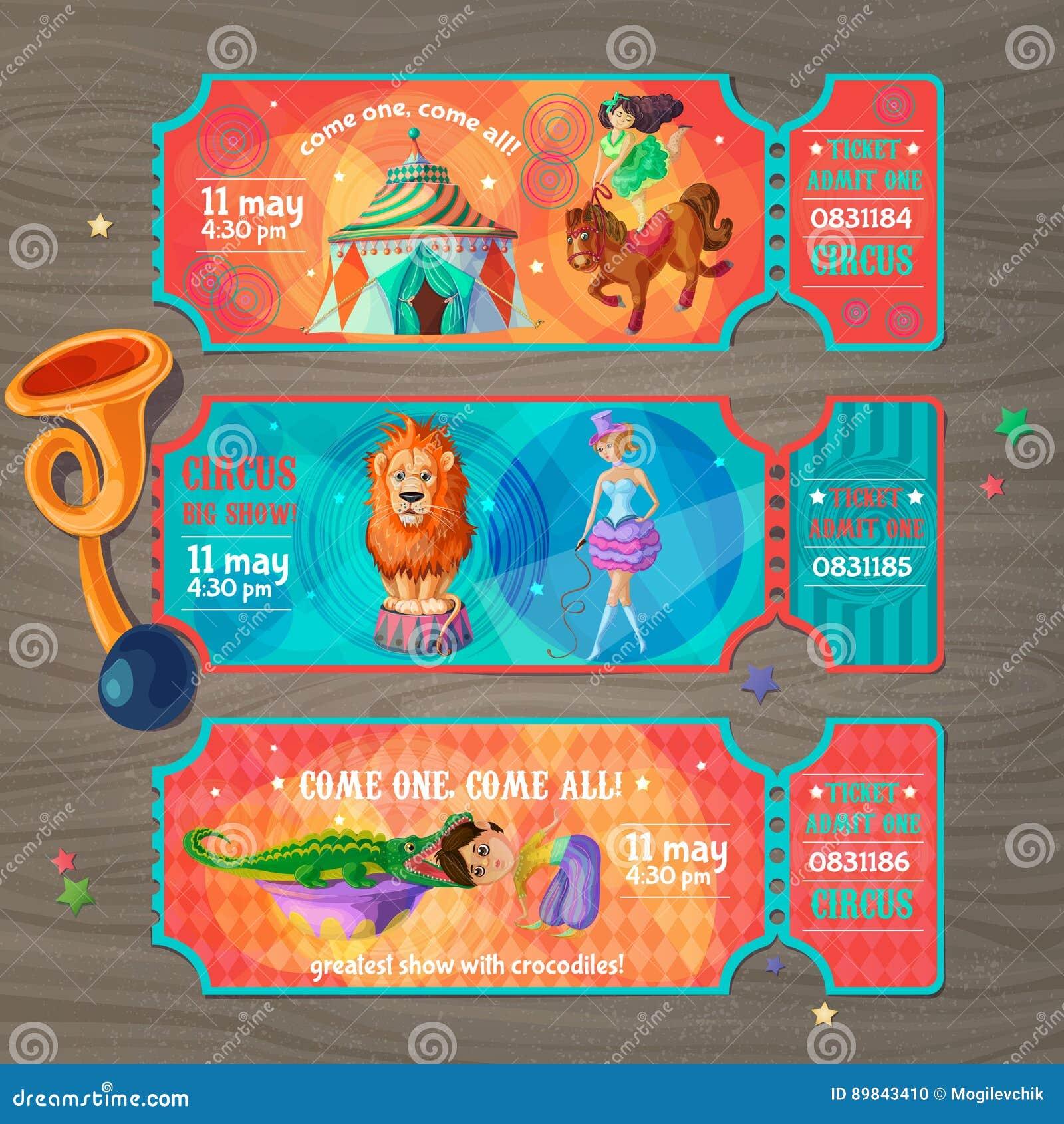 Boletos de la invitación de la demostración del circo de la historieta fijados
