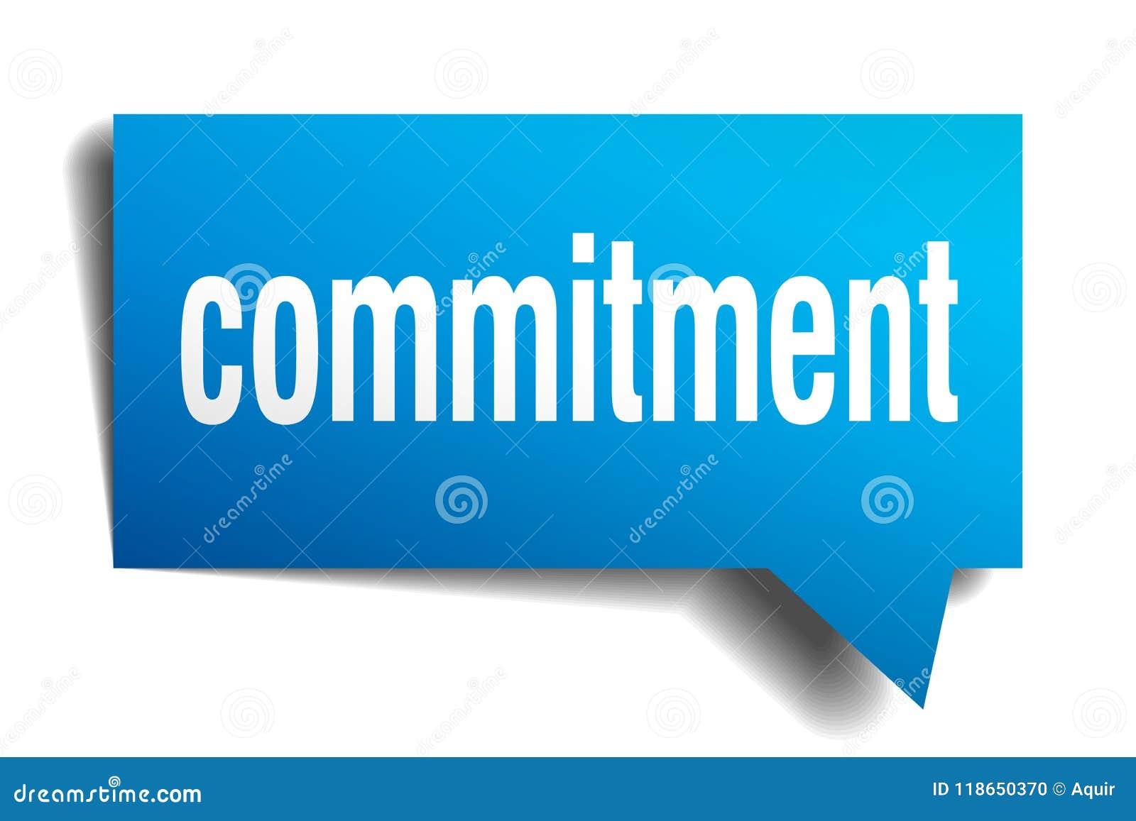 Bolha azul do discurso 3d do compromisso