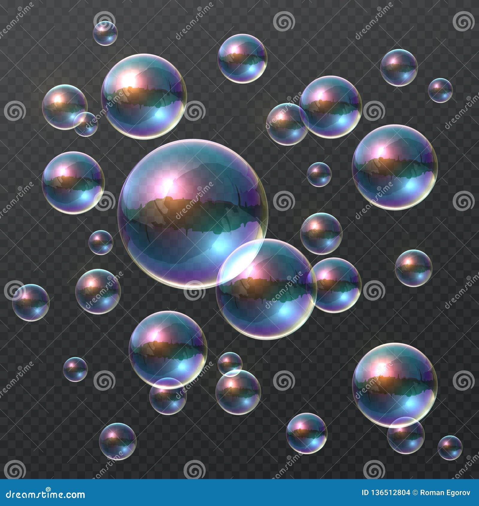 Bolha de sabão transparente 3D bolhas coloridas realísticas, bola clara do champô do arco-íris com reflexão da cor Molde do proje