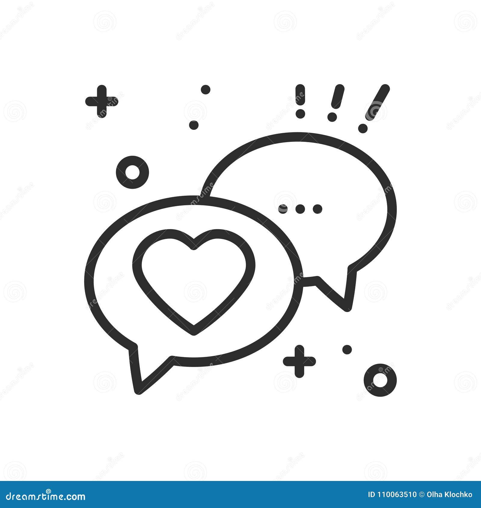 Bolha do discurso com linha de coração ícone Mensagem de diálogo do bate-papo da conversação Sinal e símbolo felizes do dia de sã