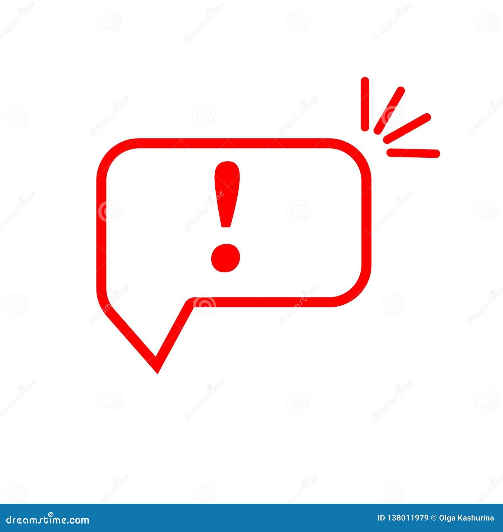 Bolha do discurso com marca de exclamação Ícone vermelho do sinal da atenção Símbolo de advertência do perigo Ilustração do vetor