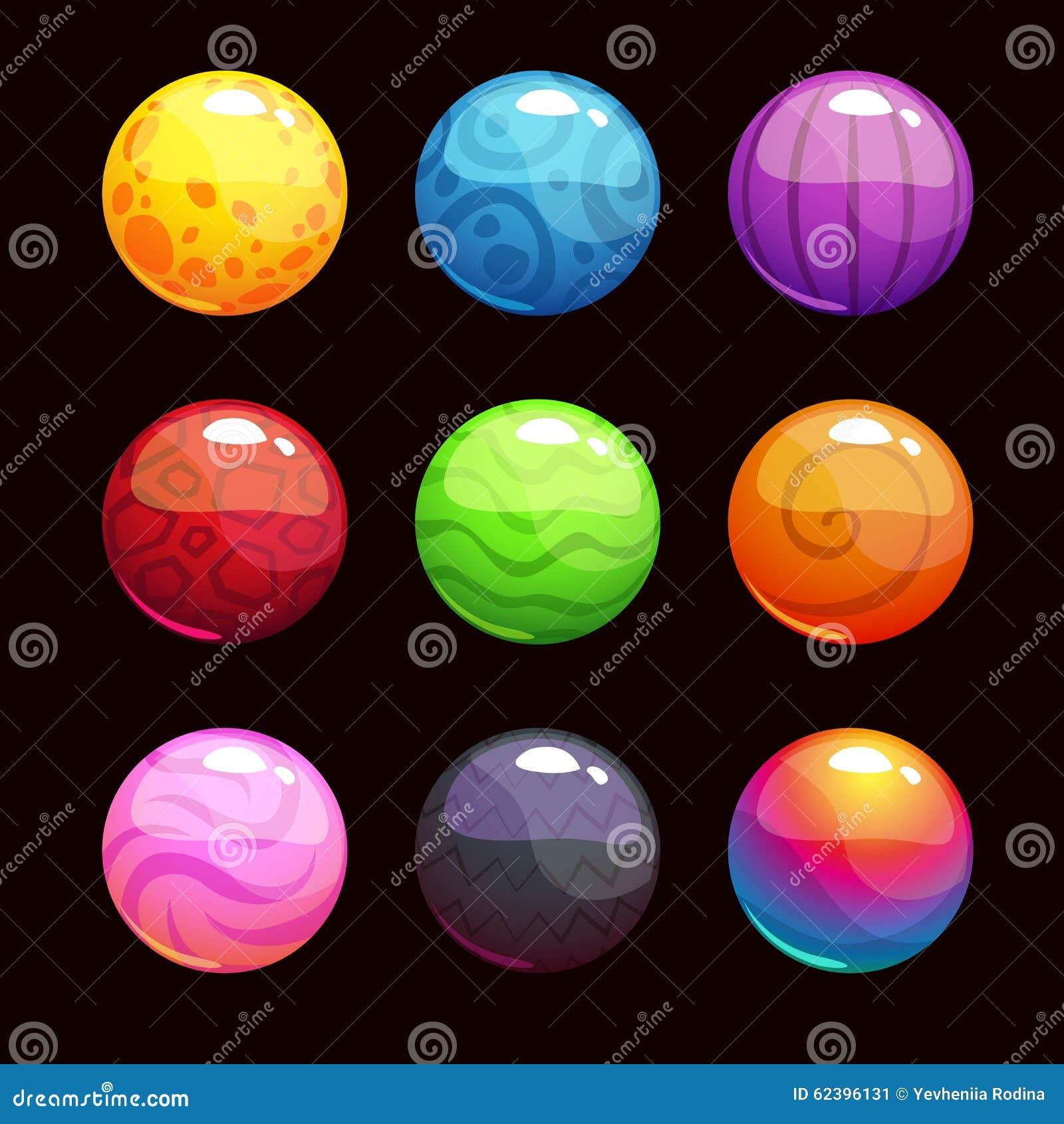 Bolhas brilhantes coloridas dos desenhos animados engraçados