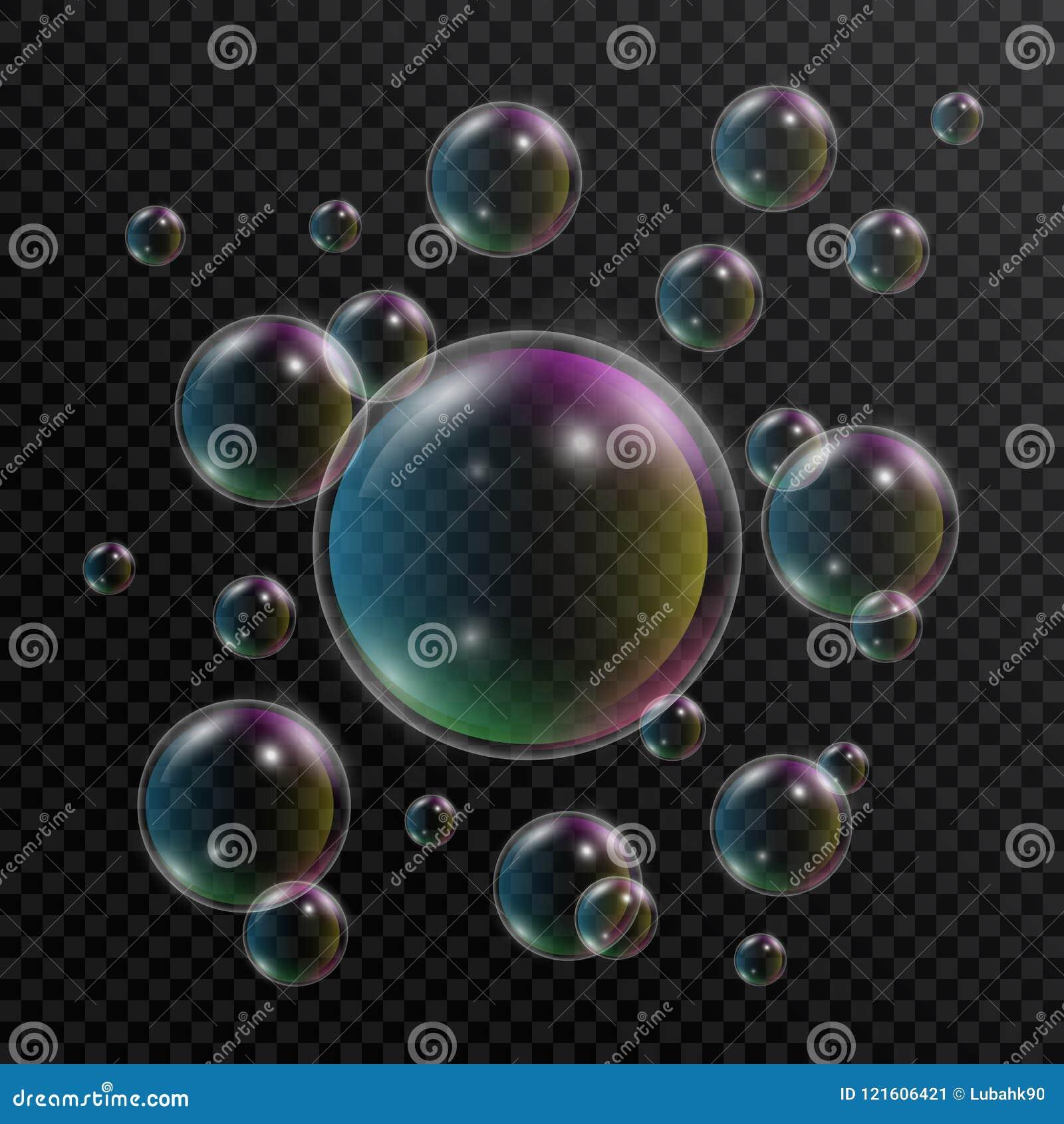 Bolhas de sabão realísticas Grupo de bolhas de sabão com reflexão do arco-íris no fundo transparente bolha 3D Vetor