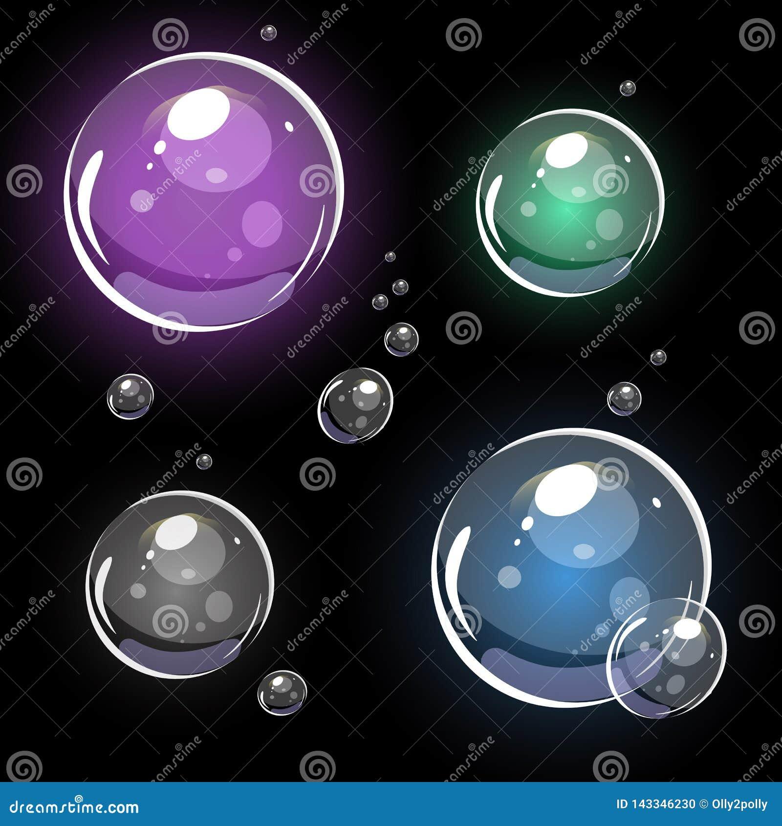 Bolhas de sab?o transparentes vetor 3D colorido Isolado no preto