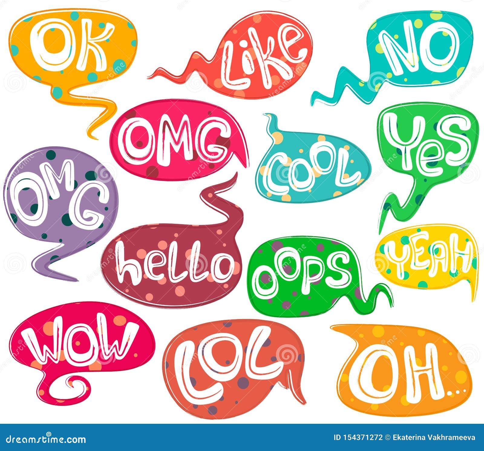 Bolhas diferentes do discurso com palavras e textura do fundo do às bolinhas Grupo tirado m?o Formul?rios diferentes Isolado do v