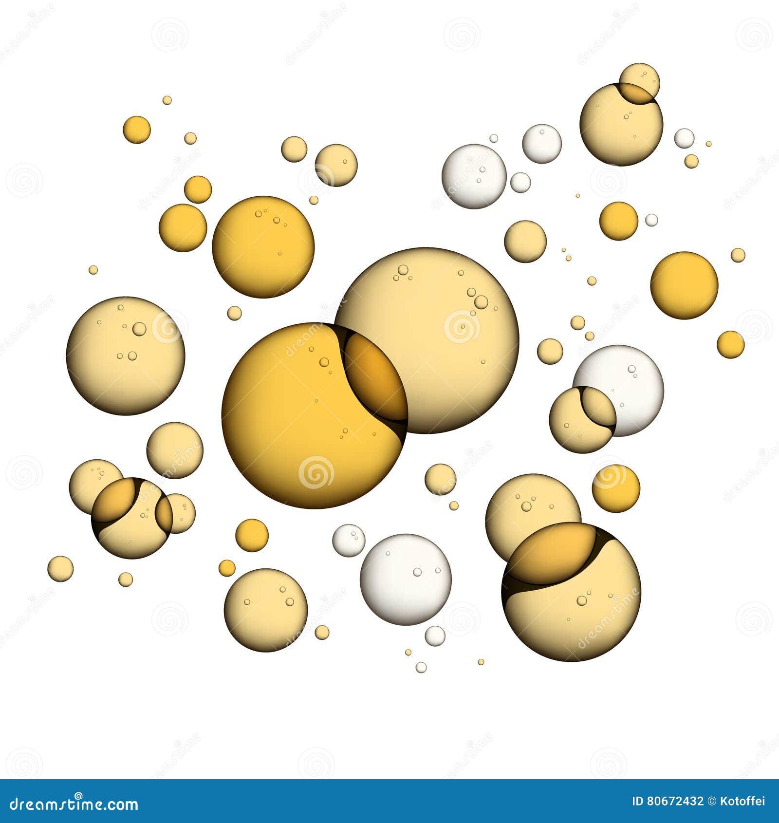Bolhas do óleo no branco