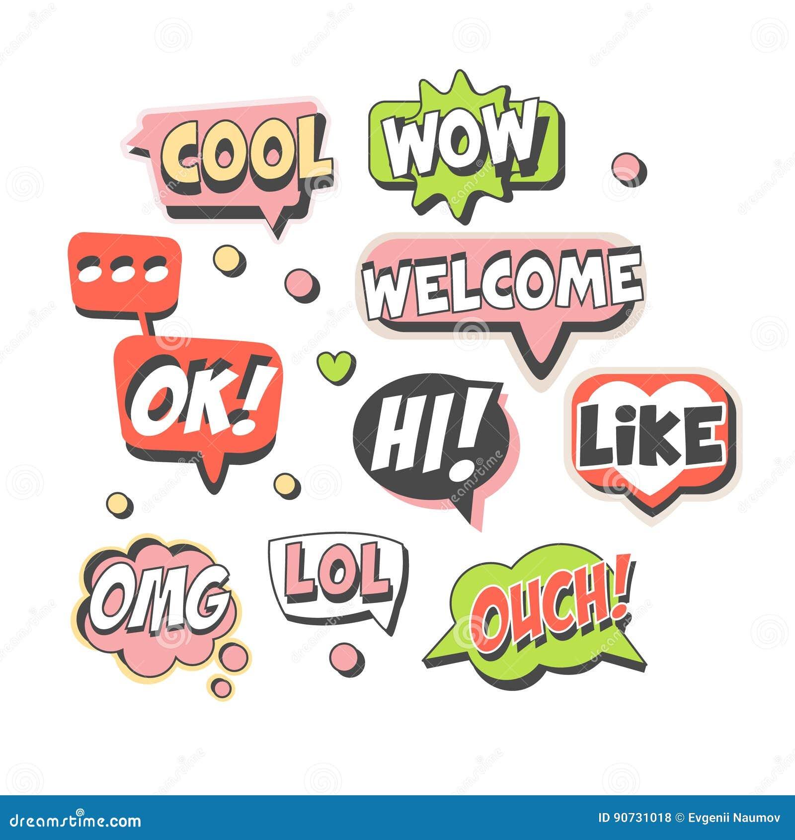 Bolhas na moda do discurso ajustadas para o projeto da etiqueta Bolhas do discurso com mensagens curtos Ilustrações detalhadas do