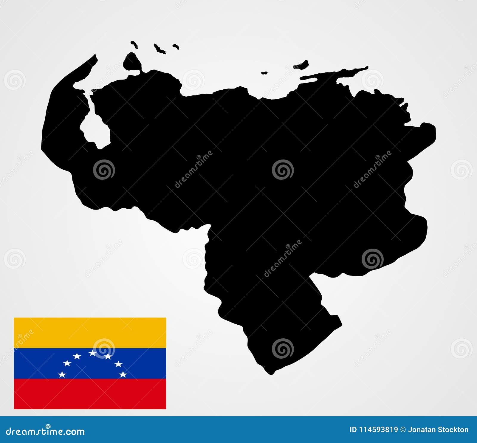 Bolivarianska republiken Venezuelaöversiktskontur och Venezuela flagga