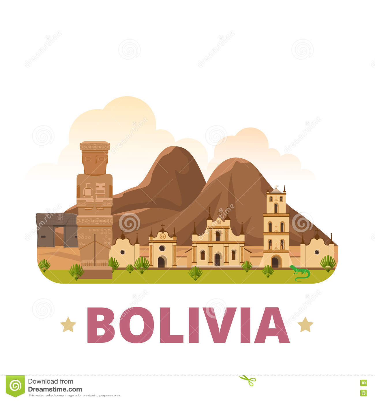Bolivia country design template Flat cartoon style