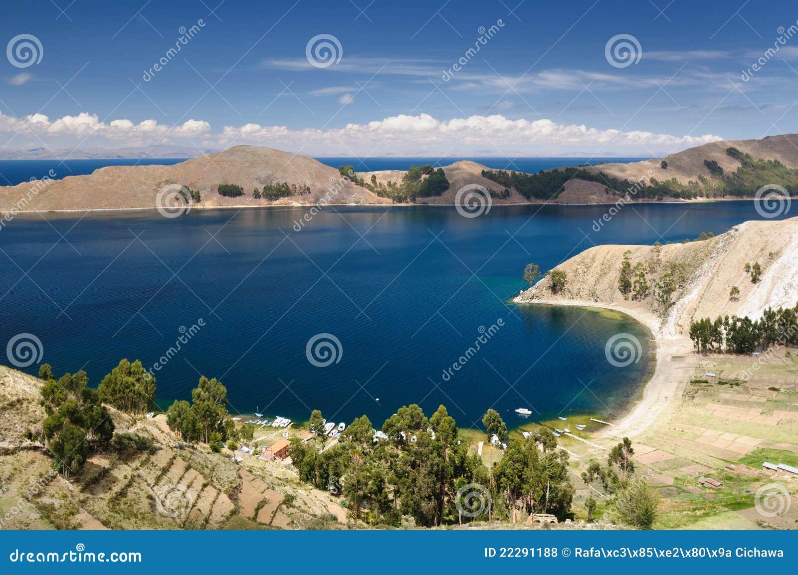Bolivia Del Isla jeziora krajobrazu zolu titicaca