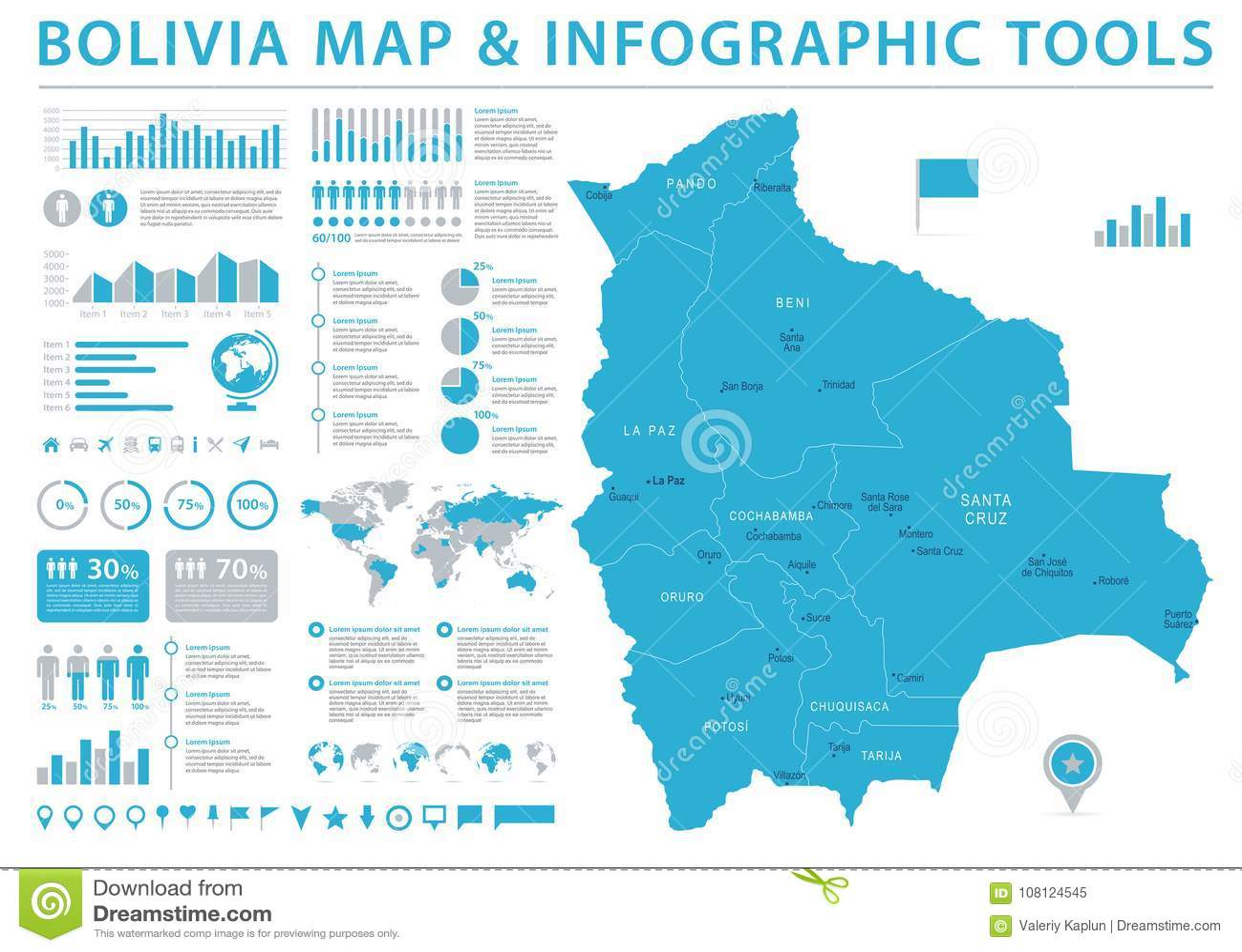 Bolivia Map - Info Graphic Vector Illustration Stock Illustration ...