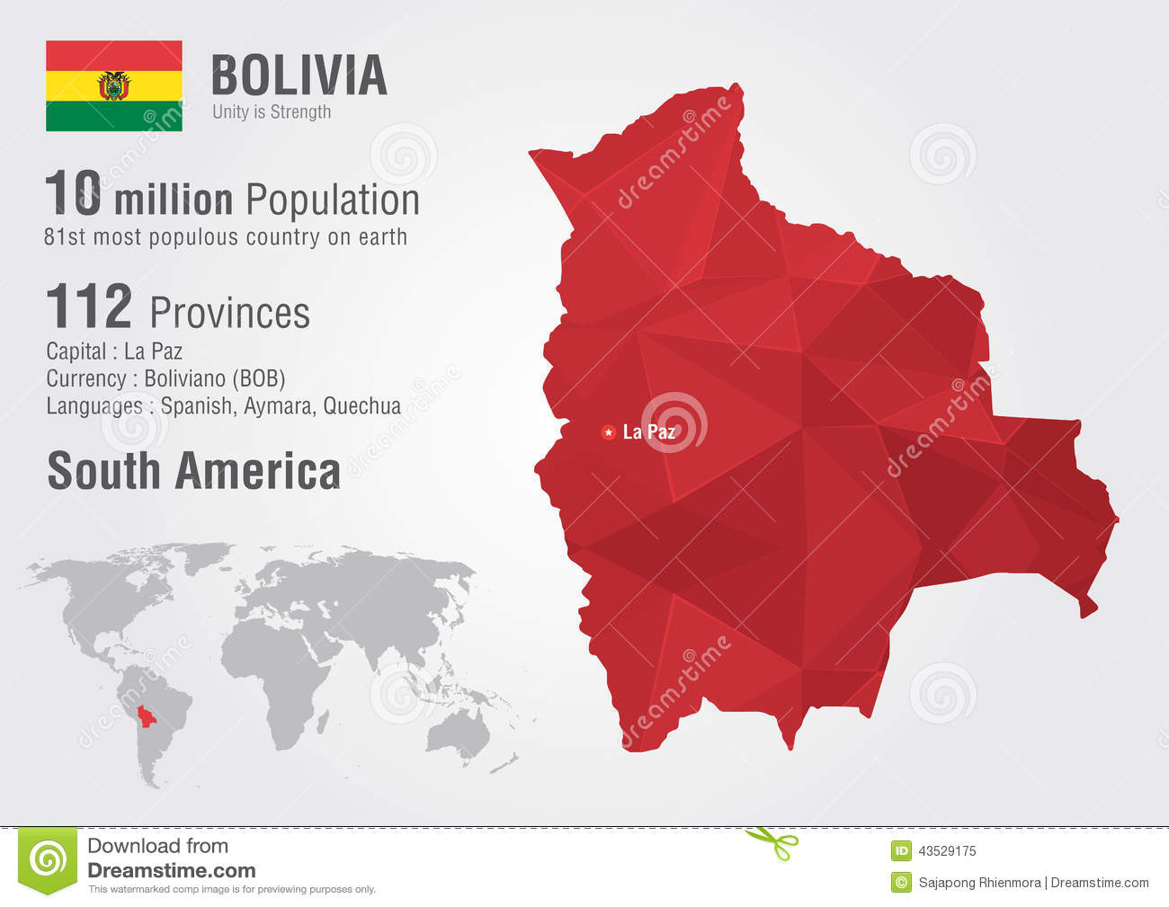 Bolivia World Map With A Pixel Diamond Texture Stock Vector - Map of bolivia world
