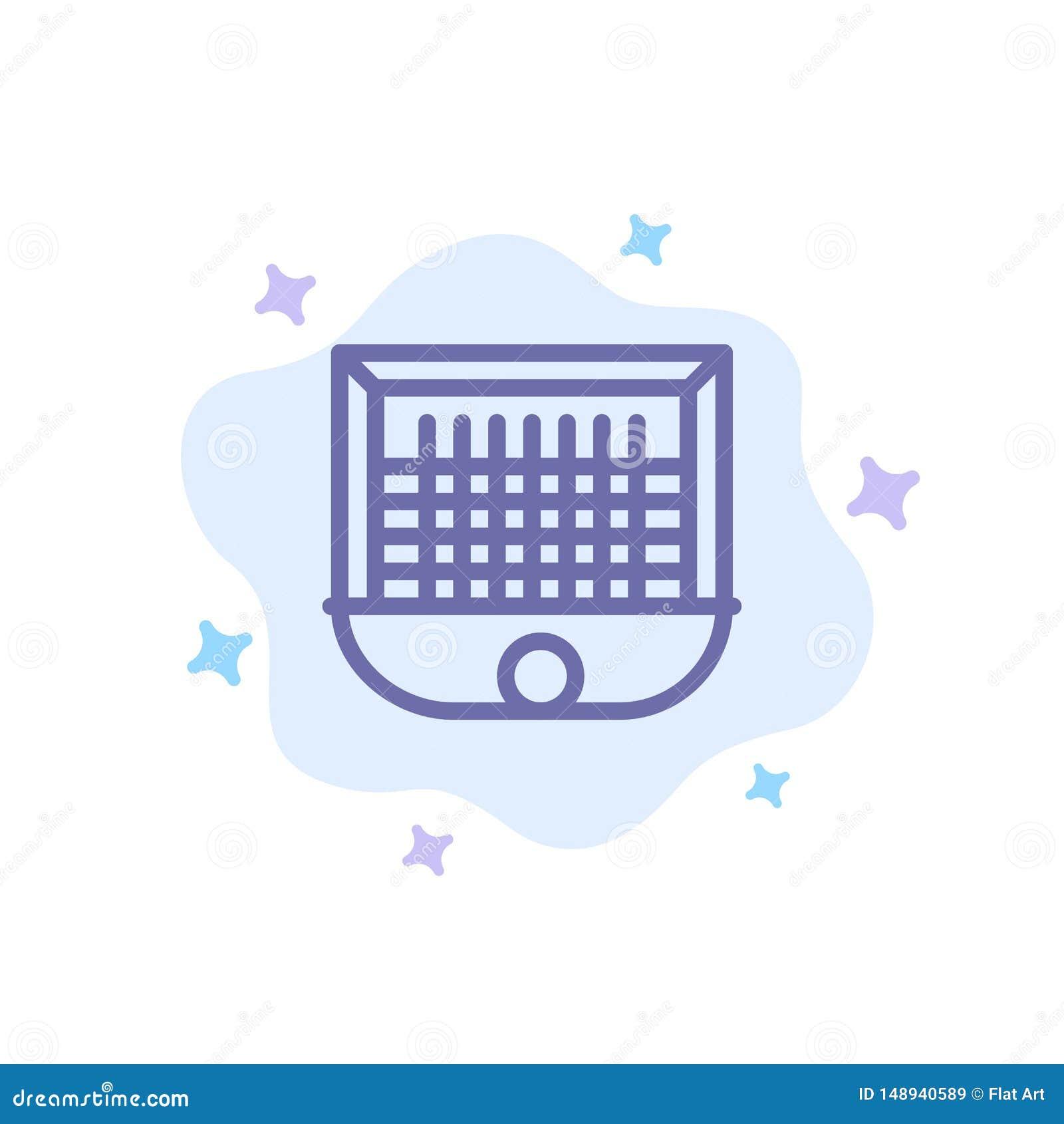 Boll port, målstolpe som är netto, blå symbol för fotboll på abstrakt molnbakgrund