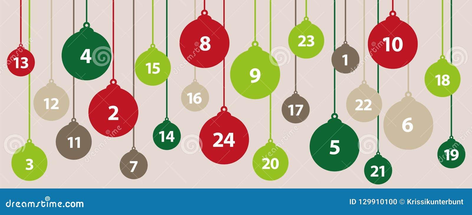 Bollar för träd för jul för Adventkalender 24 i gröna och röda färger