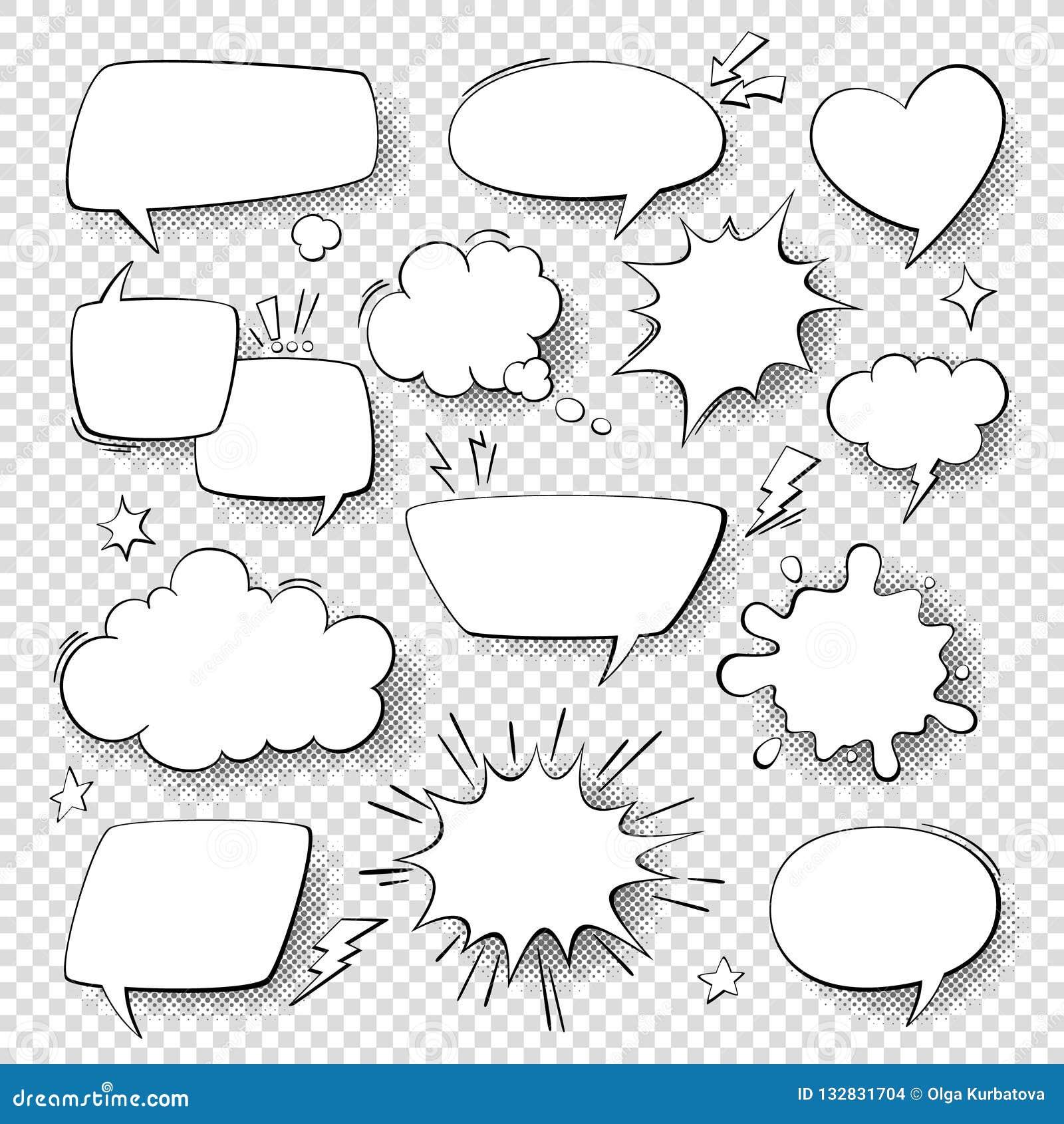 Bolle comiche di discorso Bolle di conversazione e di pensiero dei fumetti del fumetto Il retro discorso modella l insieme di vet