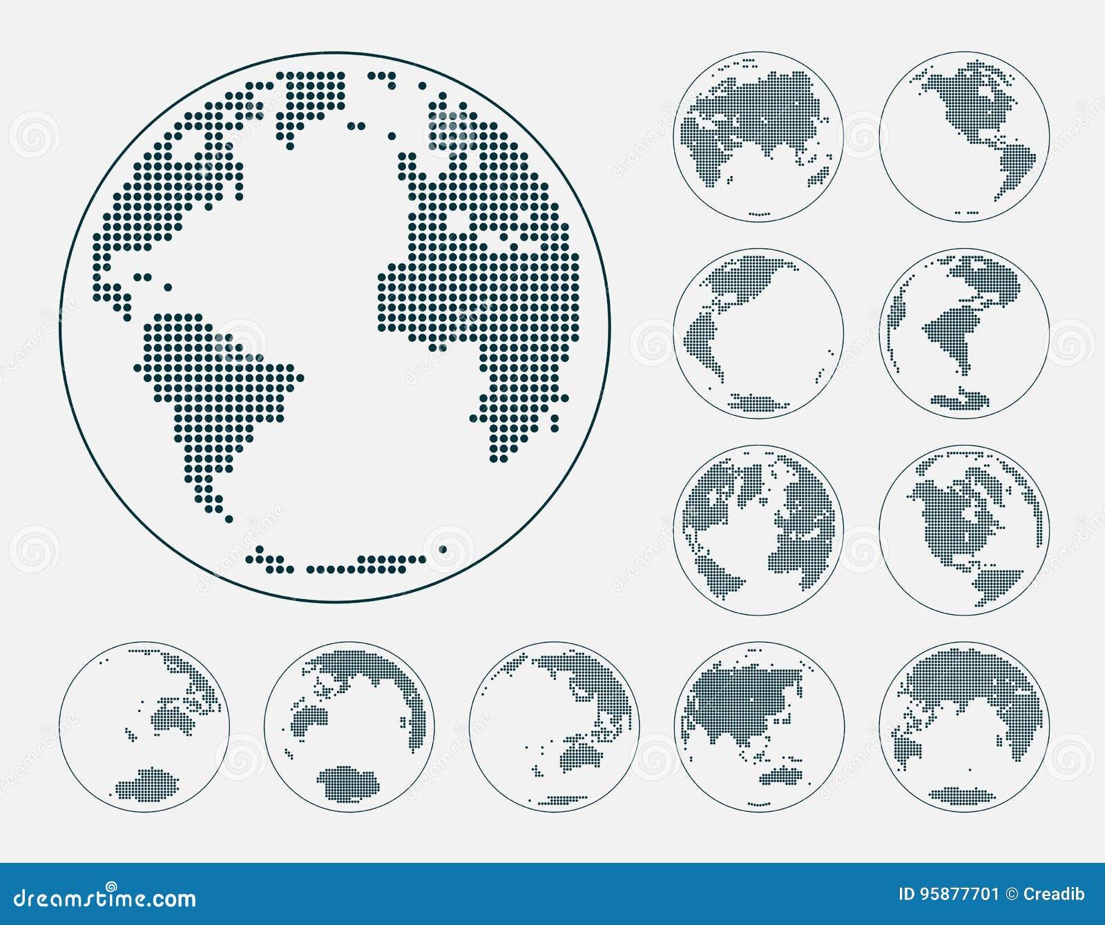 Bollen die aarde met alle continenten tonen De gestippelde vector van de wereldbol