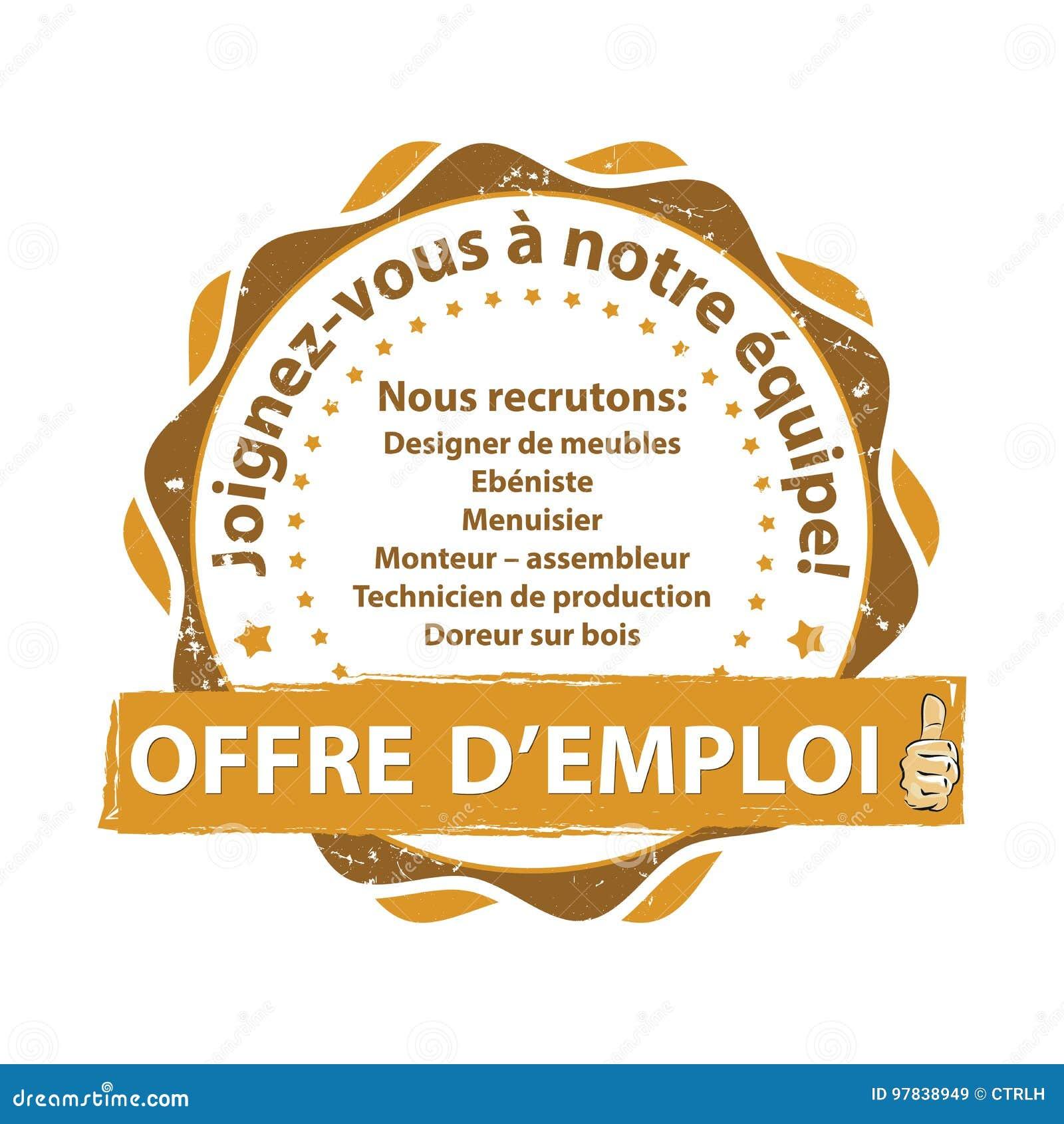 Bollo Francese Di Offerta Di Lavoro Illustrazione Vettoriale
