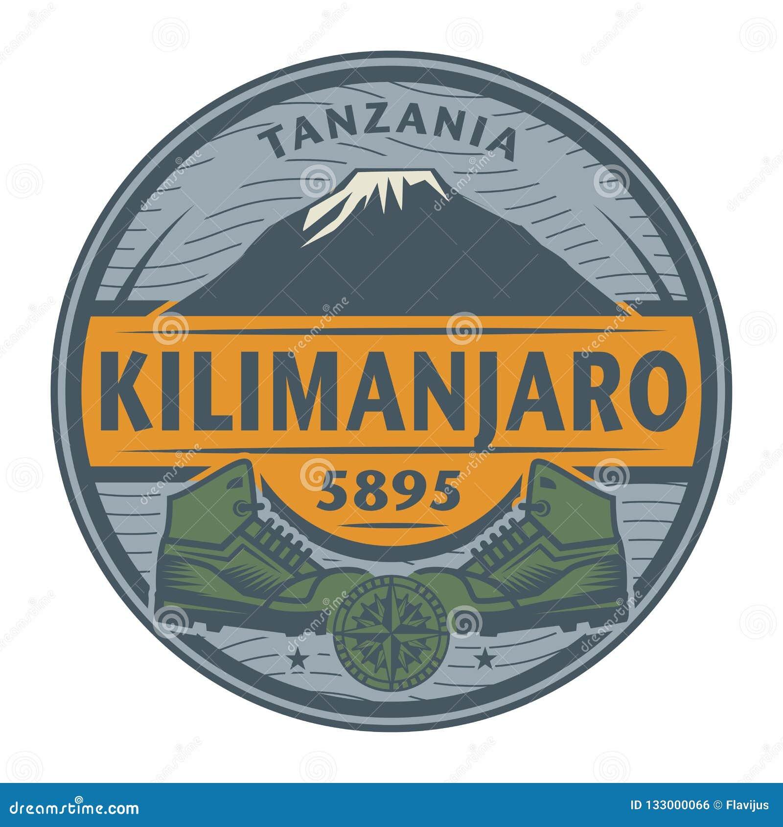 Bollo o emblema con testo Kilimanjaro, Tanzania