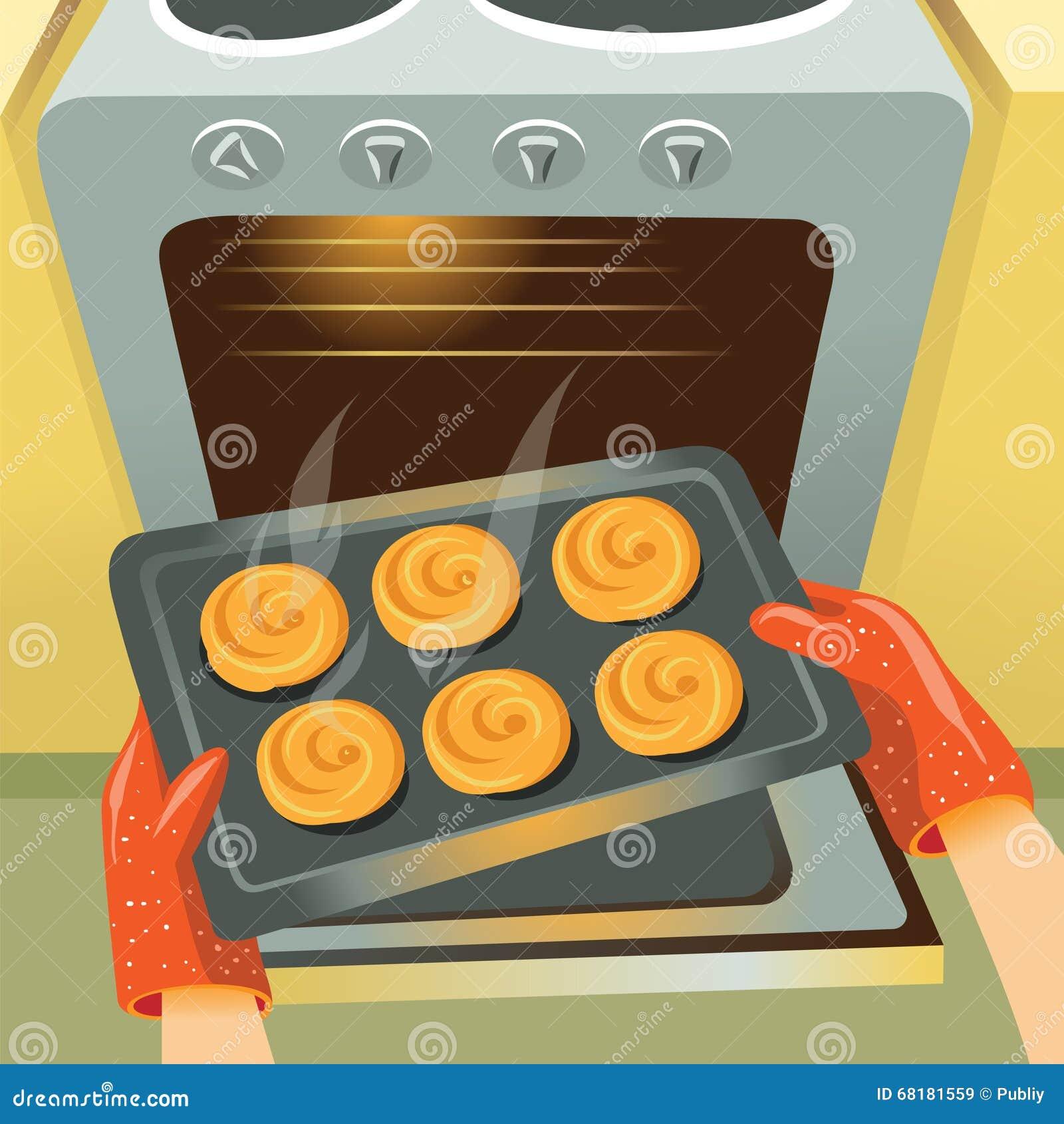 Bollos de la hornada en el horno