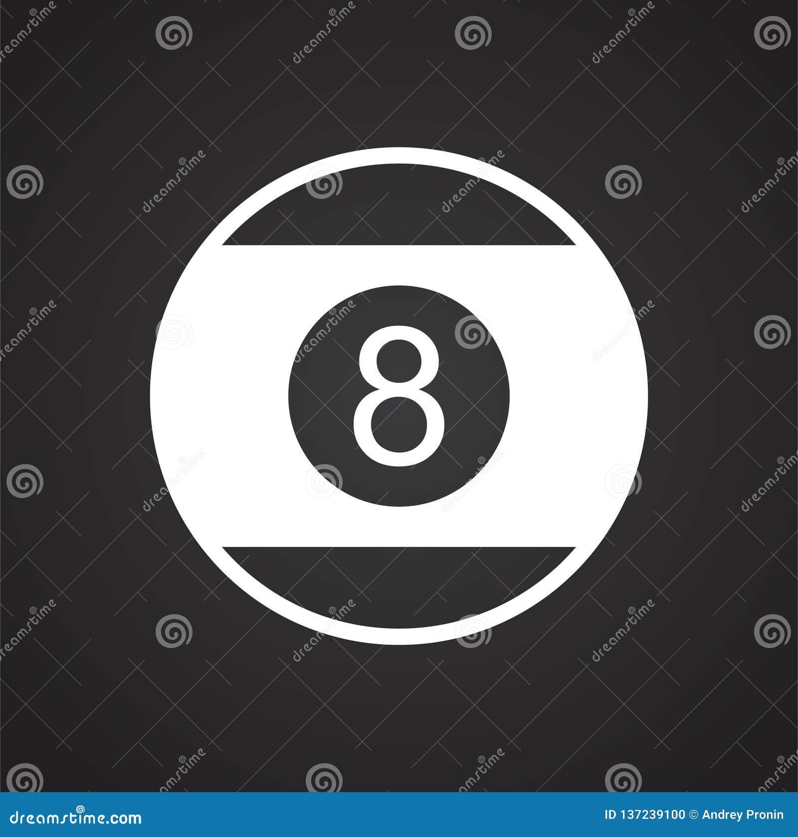 Bollsymbol för pöl åtta på svart bakgrund för diagrammet och rengöringsdukdesignen, modernt enkelt vektortecken för färgbegrepp f