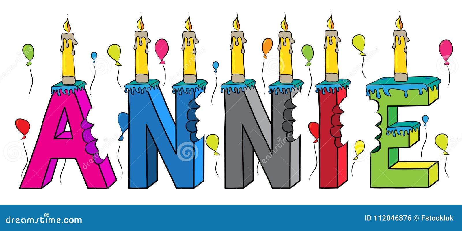 Bolo de aniversário colorido mordido da rotulação 3d de Annie nome fêmea com velas e balões