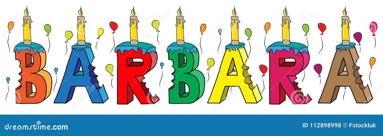 Bolo de aniversário colorido mordido da rotulação 3d de Barbara nome fêmea com velas e balões