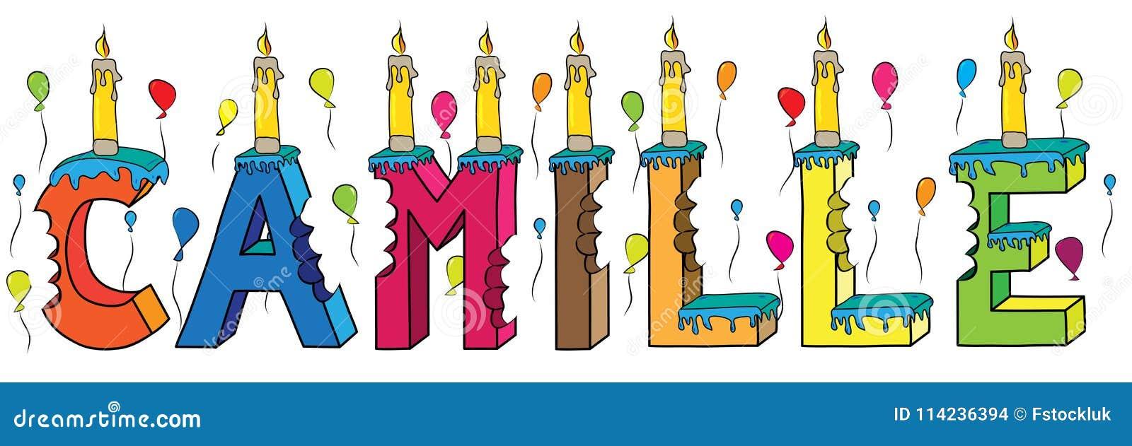 Bolo de aniversário colorido mordido da rotulação 3d de Camilo nome fêmea com velas e balões